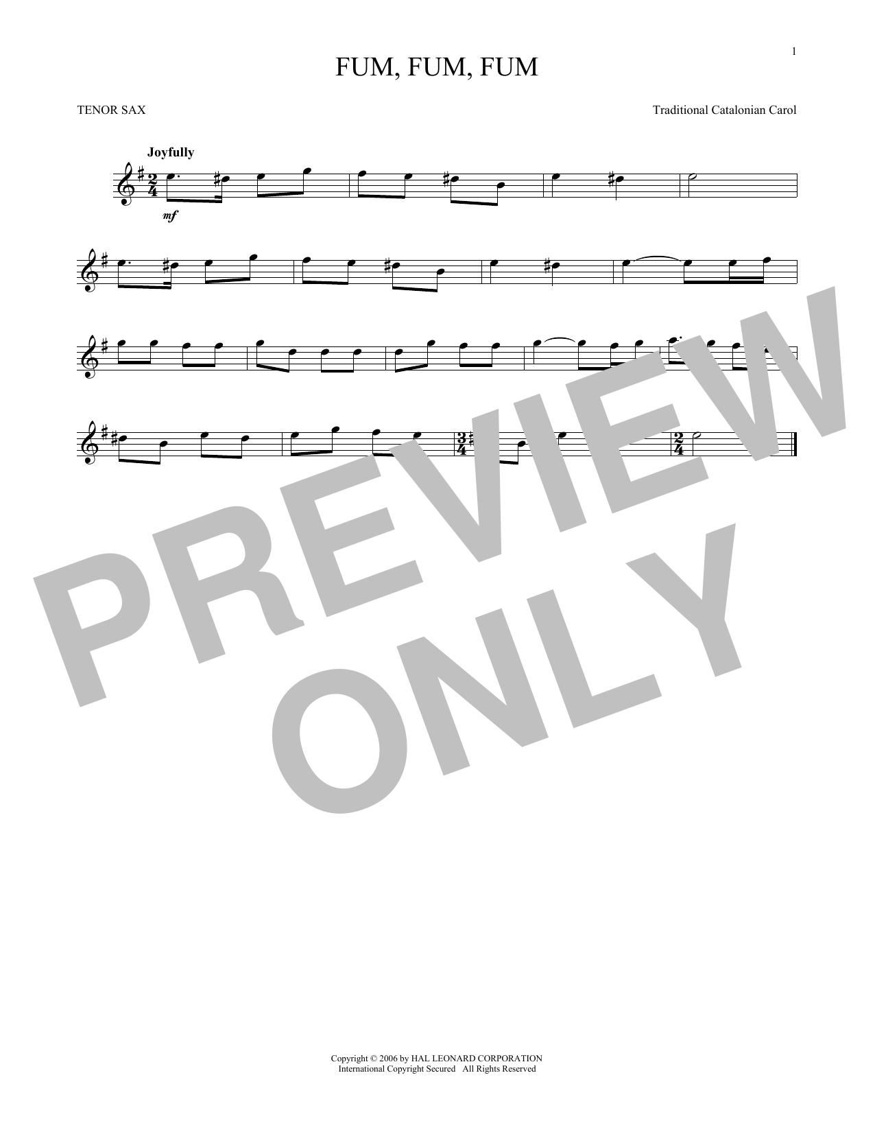 Partition saxophone Fum, Fum, Fum de Traditional Catalonian Carol - Sax Tenor