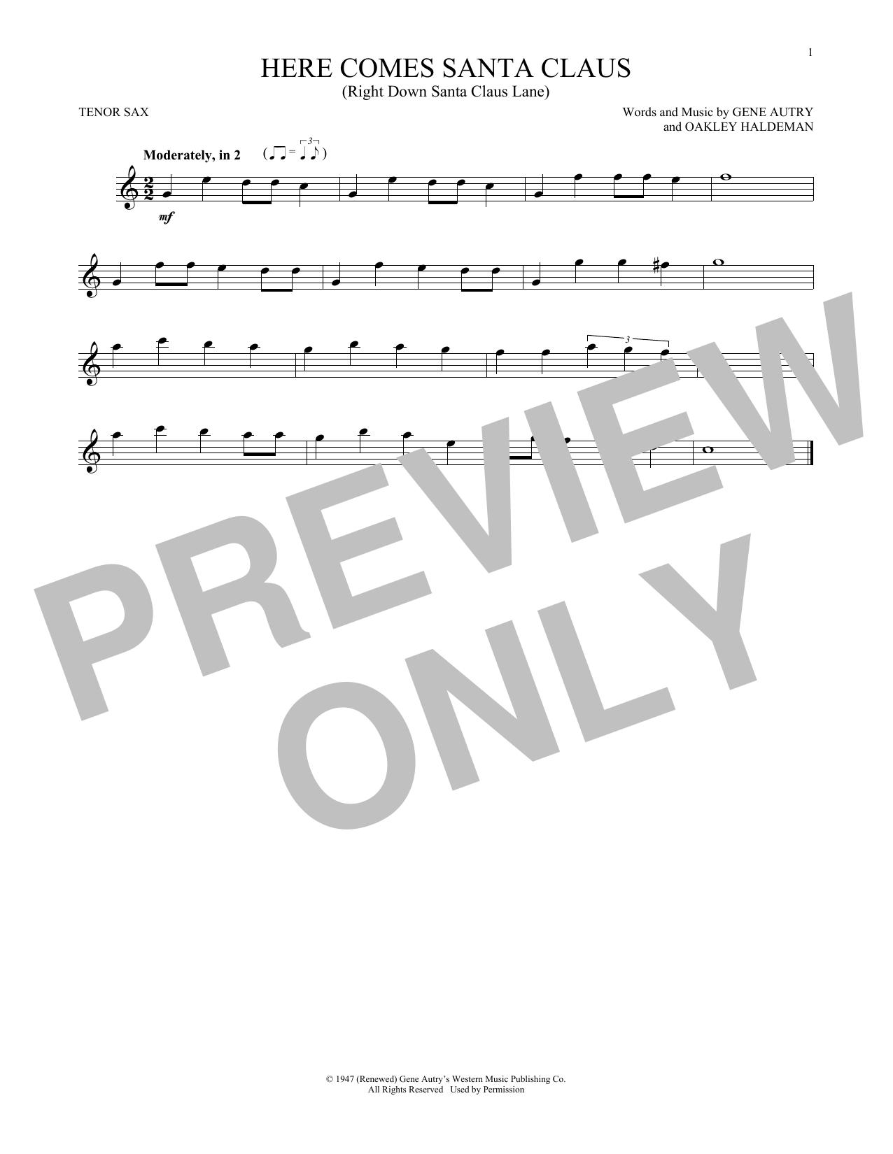 Partition saxophone Here Comes Santa Claus (Right Down Santa Claus Lane) de Gene Autry - Sax Tenor