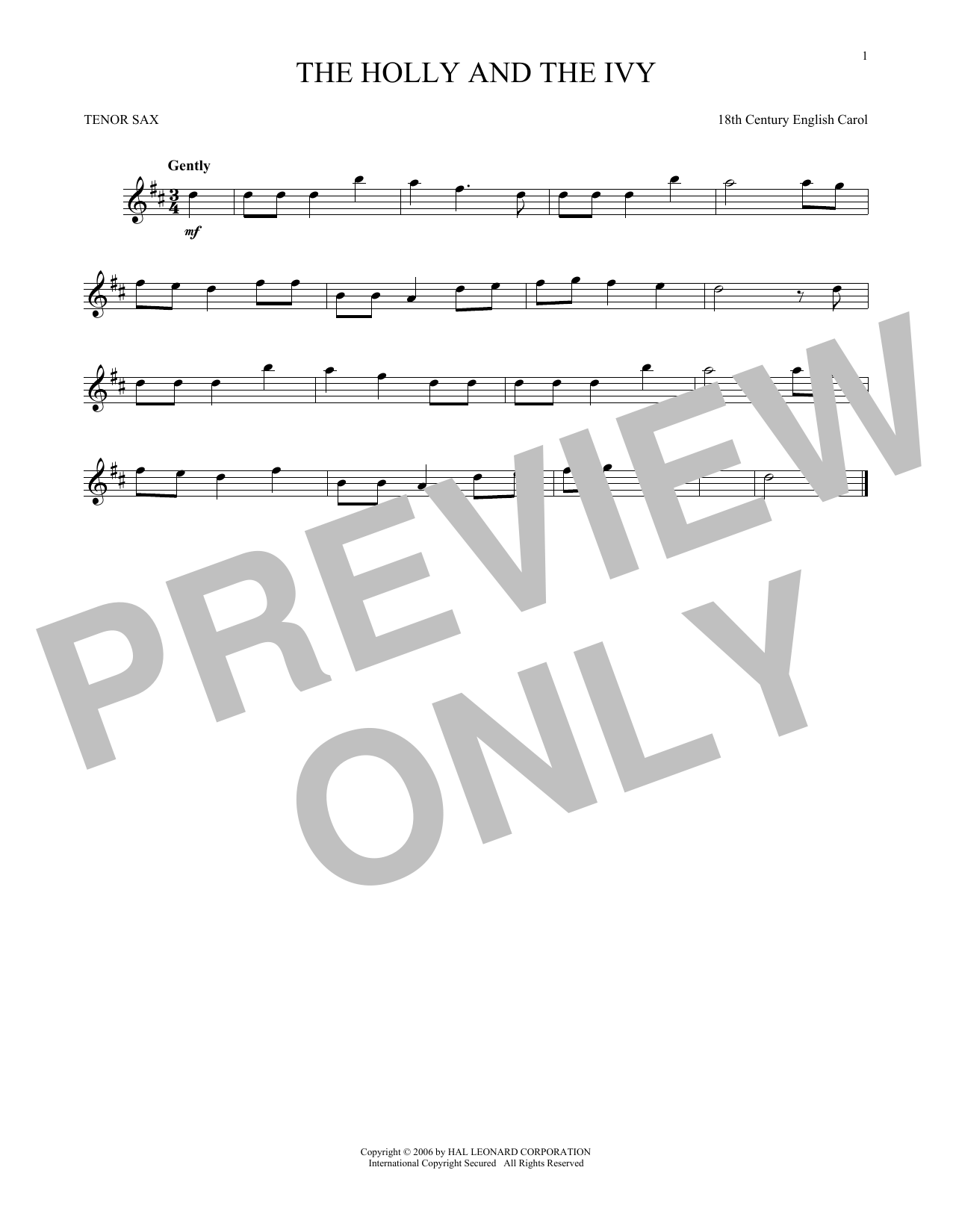 Partition saxophone The Holly And The Ivy de Christmas Carol - Sax Tenor
