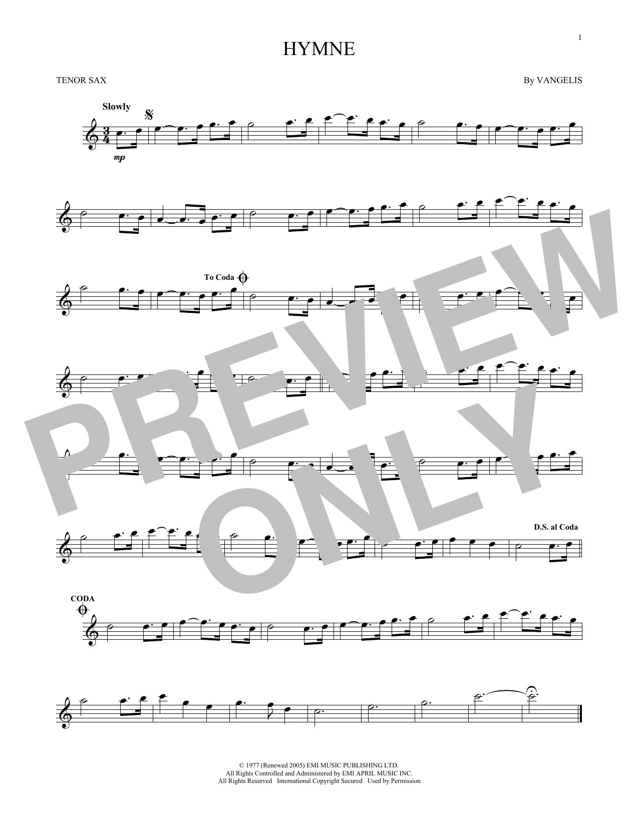 Partition saxophone Hymne de Vangelis - Sax Tenor