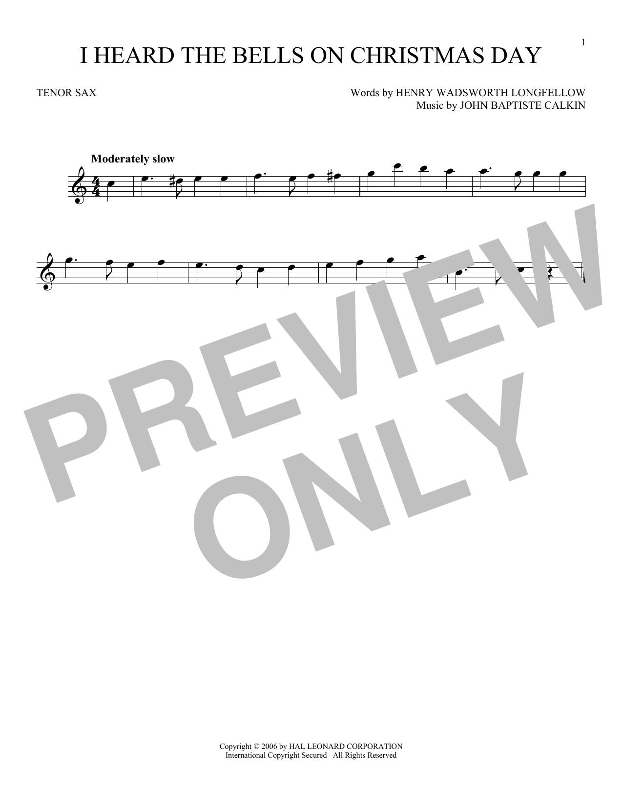 Partition saxophone I Heard The Bells On Christmas Day de Johnny Marks - Sax Tenor