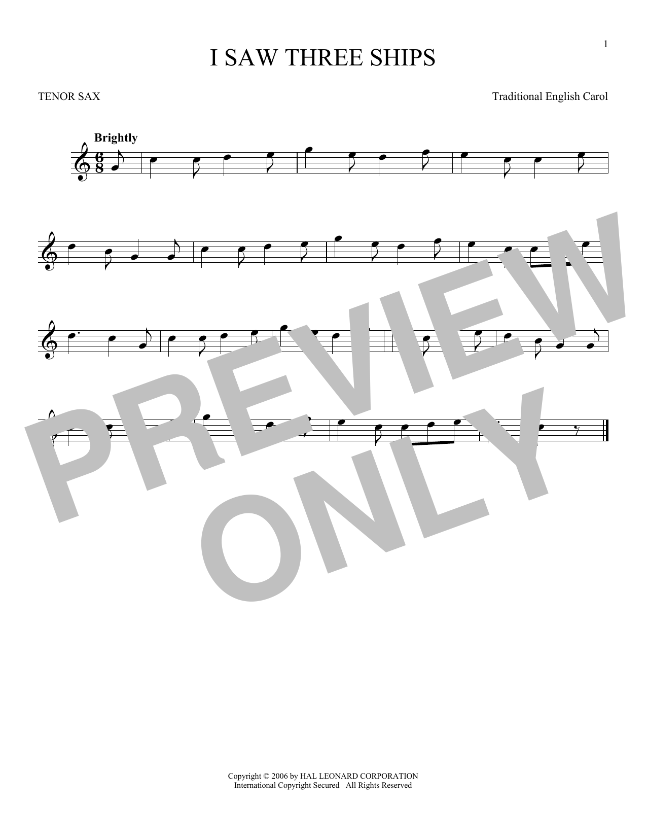 Partition saxophone I Saw Three Ships de Traditional English Carol - Sax Tenor