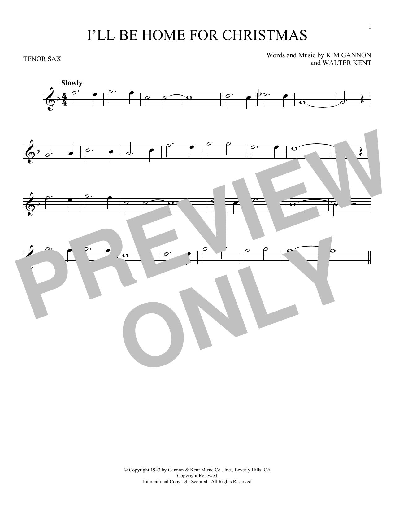 Sheet Music Digital Files To Print - Licensed Walter Kent Digital ...