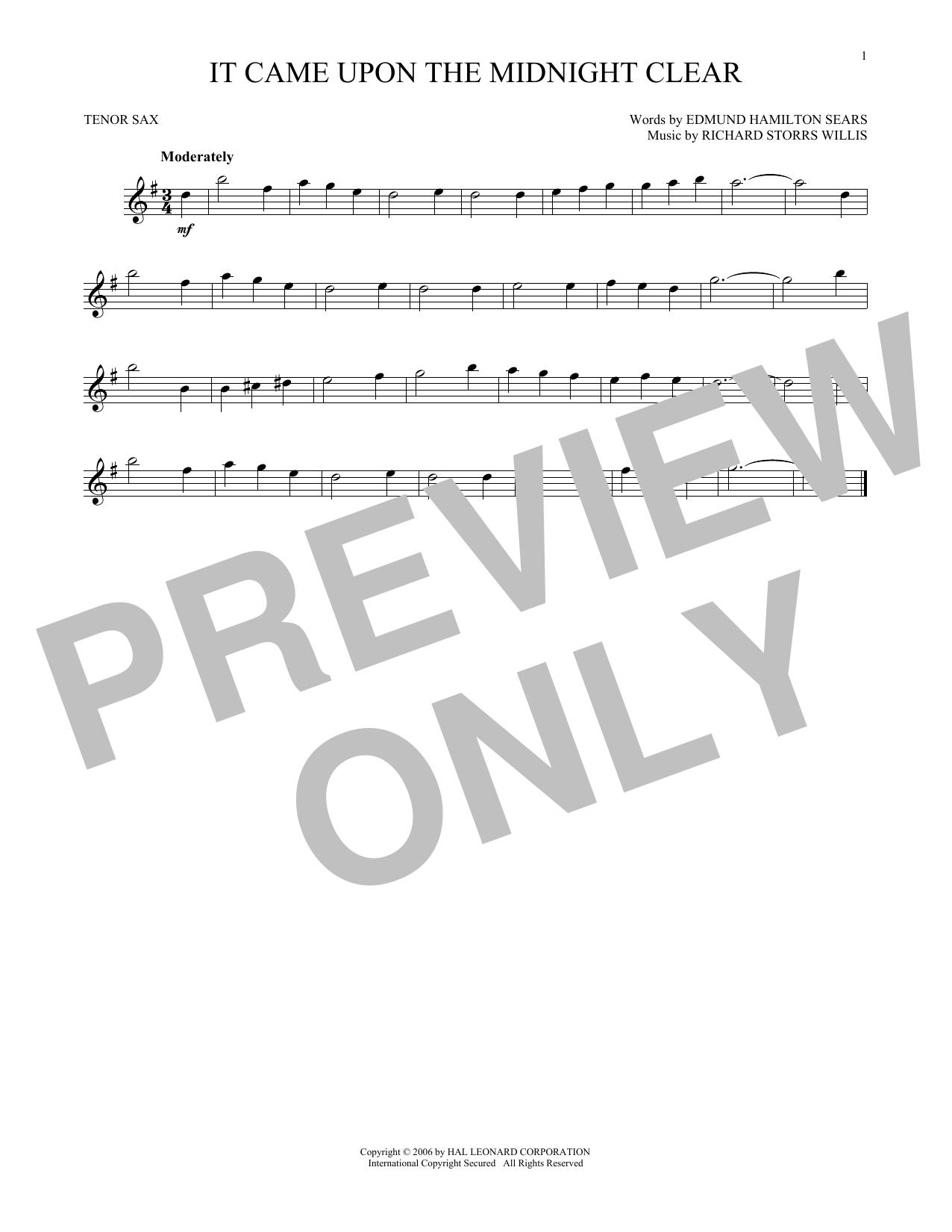 Partition saxophone It Came Upon The Midnight Clear de Edmund Hamilton Sears - Sax Tenor