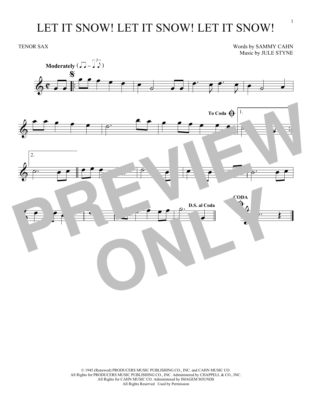 Partition saxophone Let It Snow! Let It Snow! Let It Snow! de Sammy Cahn - Sax Tenor