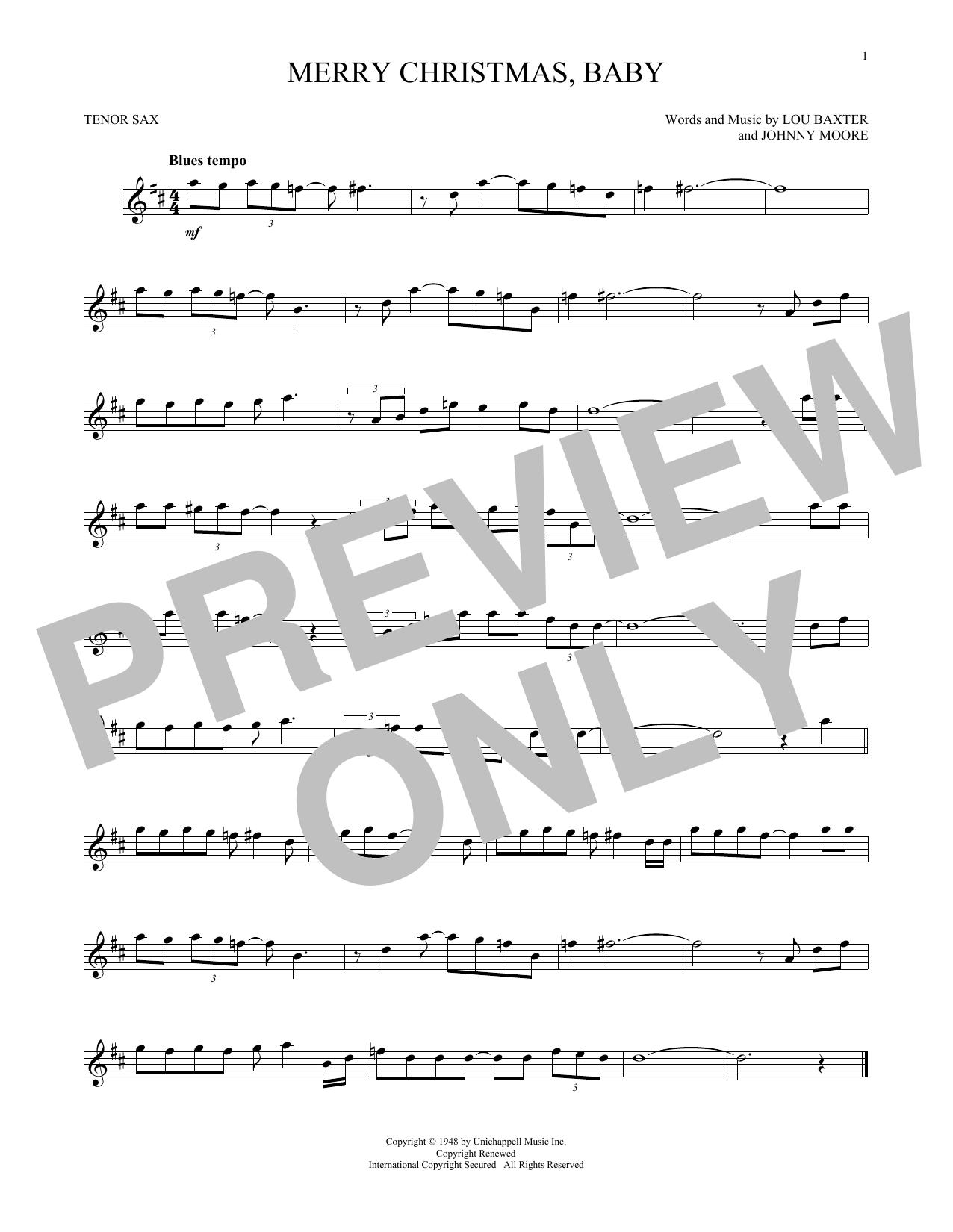 Partition saxophone Merry Christmas, Baby de Elvis Presley - Sax Tenor