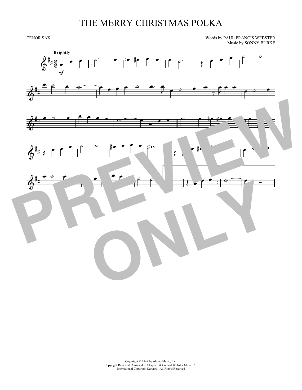 Partition saxophone The Merry Christmas Polka de Sonny Burke - Sax Tenor