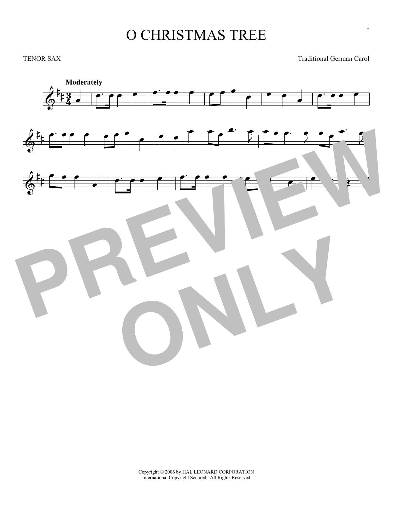 Partition saxophone O Christmas Tree de Traditional German Carol - Sax Tenor