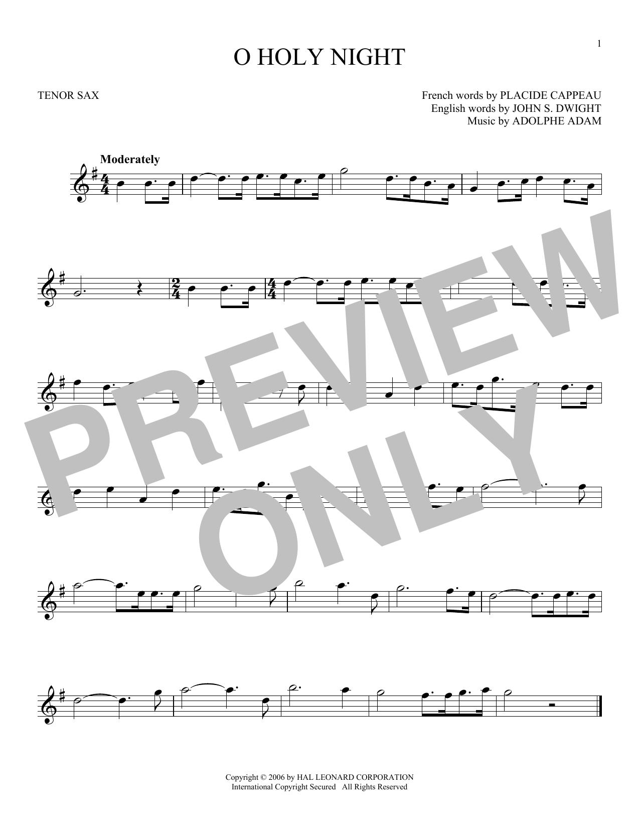 Partition saxophone O Holy Night de Adolphe Adam - Sax Tenor
