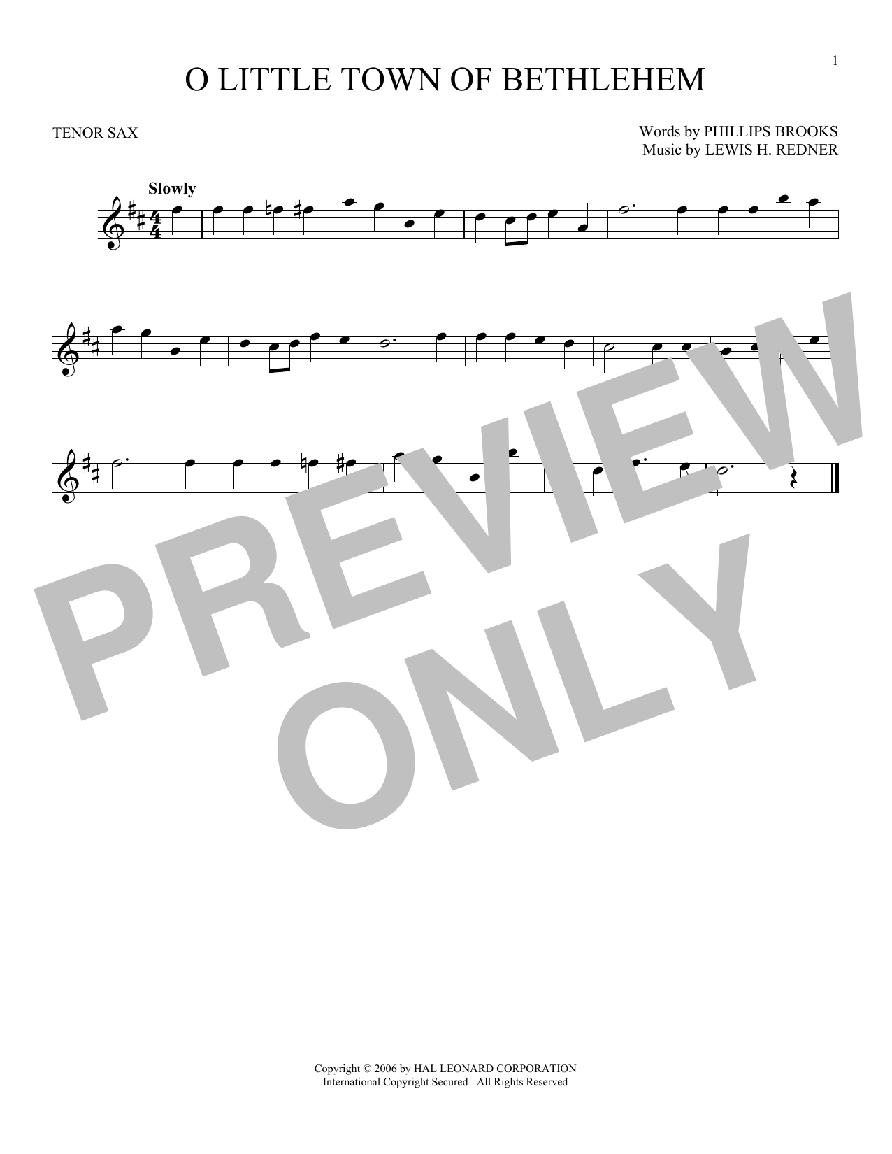 Partition saxophone O Little Town Of Bethlehem de Phillips Brooks - Sax Tenor