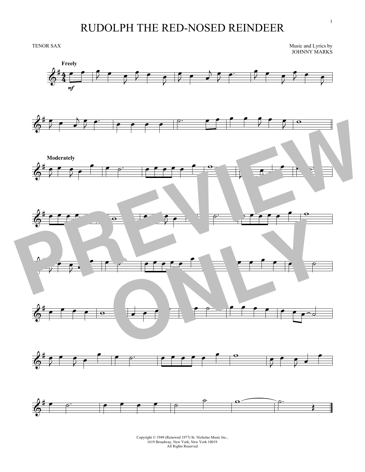 Partition saxophone Rudolph The Red-Nosed Reindeer de Johnny Marks - Sax Tenor