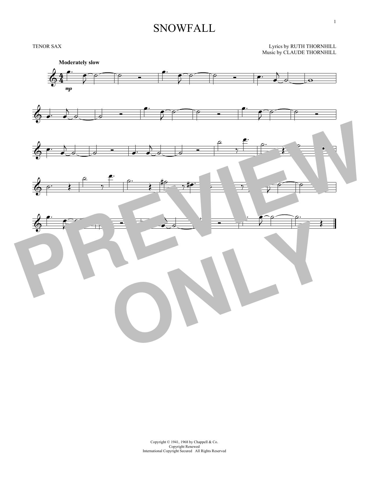 Partition saxophone Snowfall de Claude & Ruth Thornhill - Sax Tenor