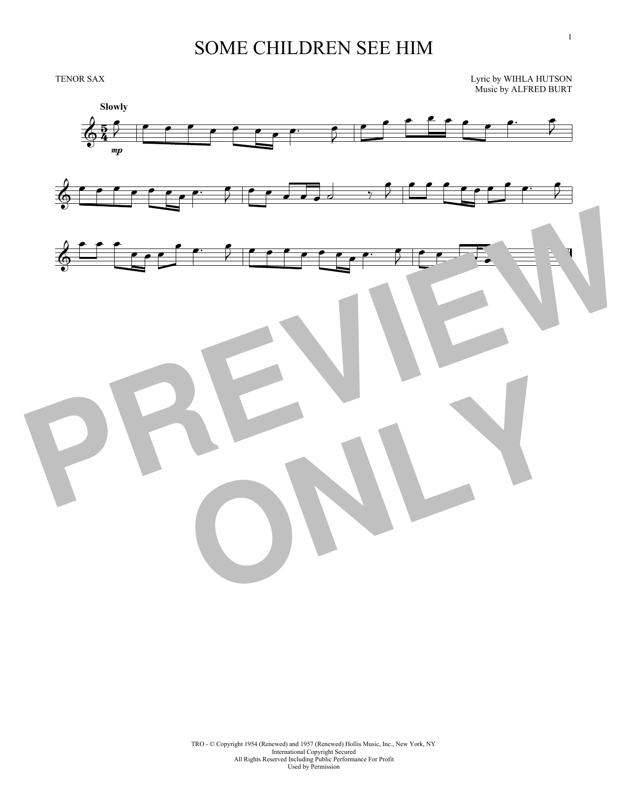 Partition saxophone Some Children See Him de Alfred Burt - Sax Tenor