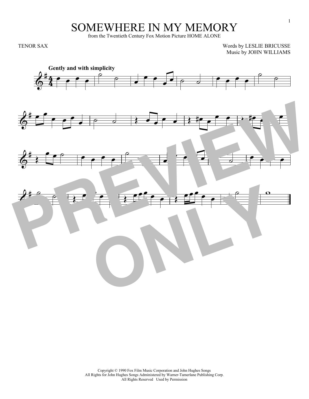 Partition saxophone Somewhere In My Memory de John Williams - Sax Tenor
