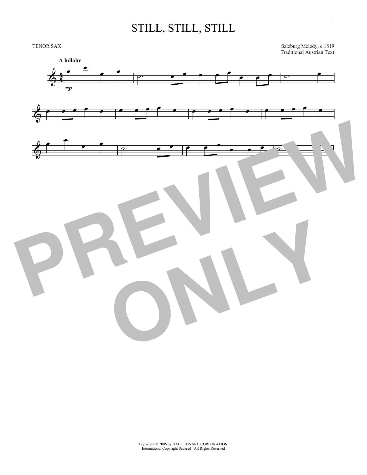Partition saxophone Still, Still, Still de Traditional - Sax Tenor