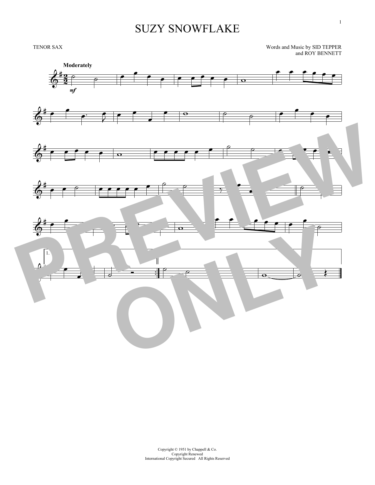 Partition saxophone Suzy Snowflake de Sid Tepper and Roy Bennett - Sax Tenor