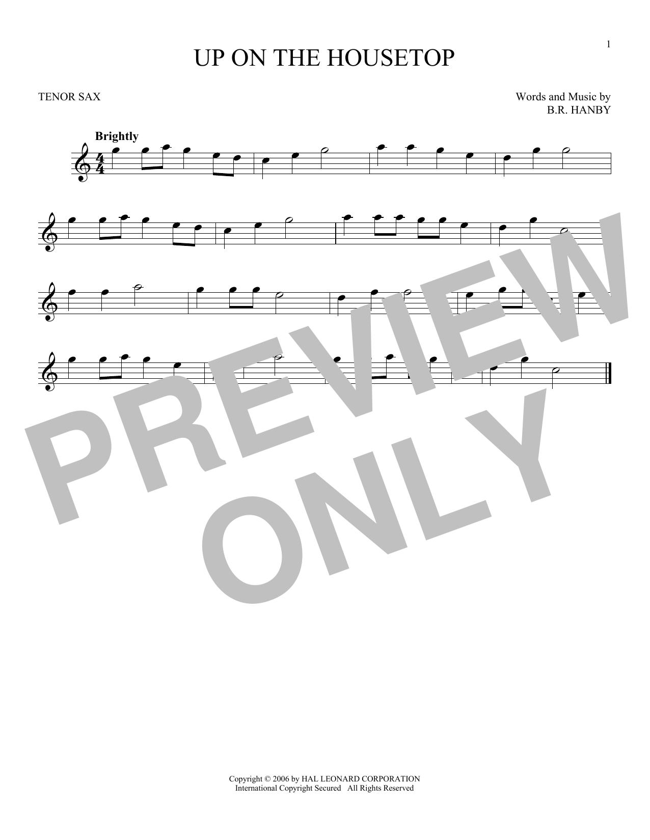 Partition saxophone Up On The Housetop de B.R. Hanby - Sax Tenor