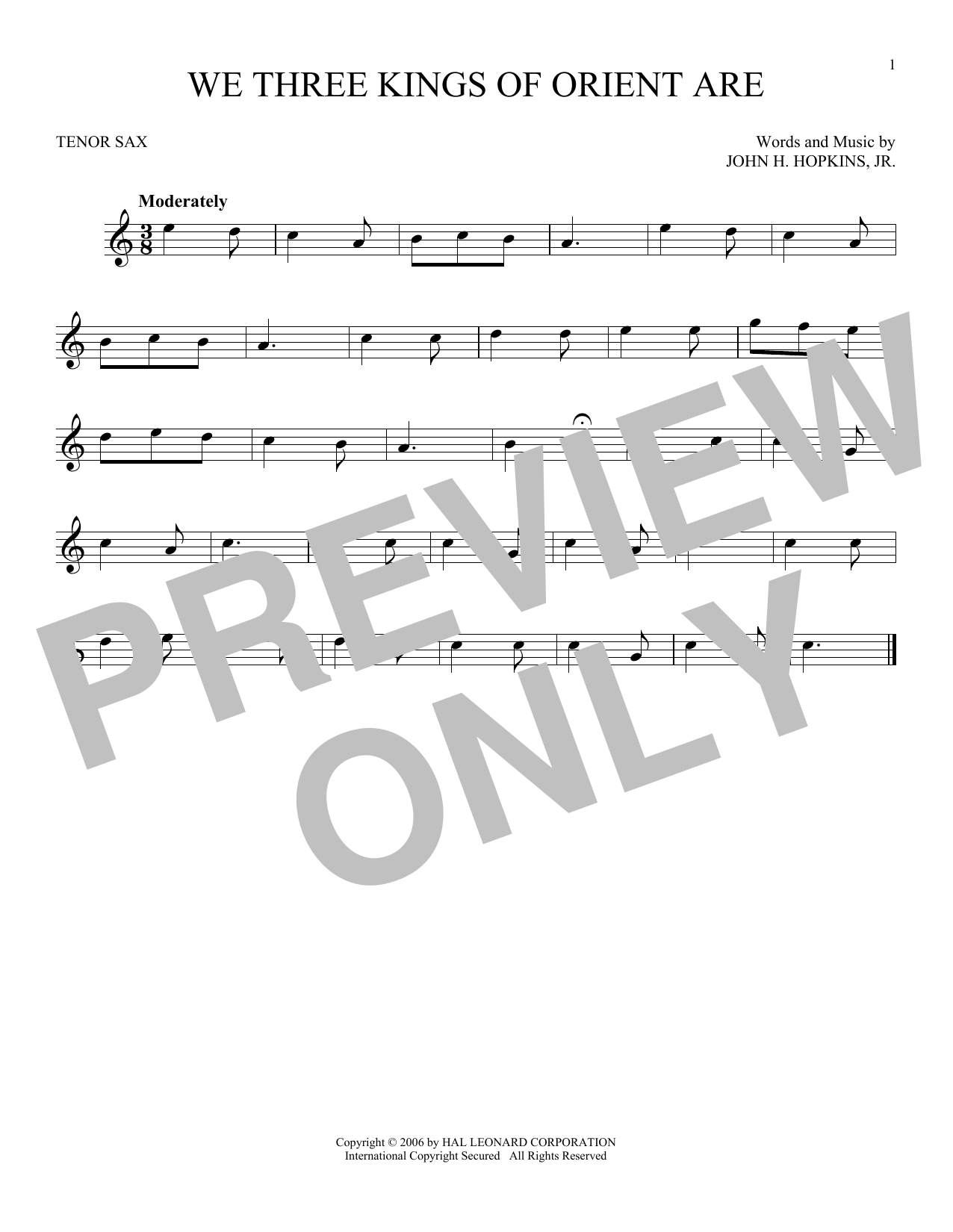 Partition saxophone We Three Kings Of Orient Are de John H. Hopkins, Jr. - Sax Tenor