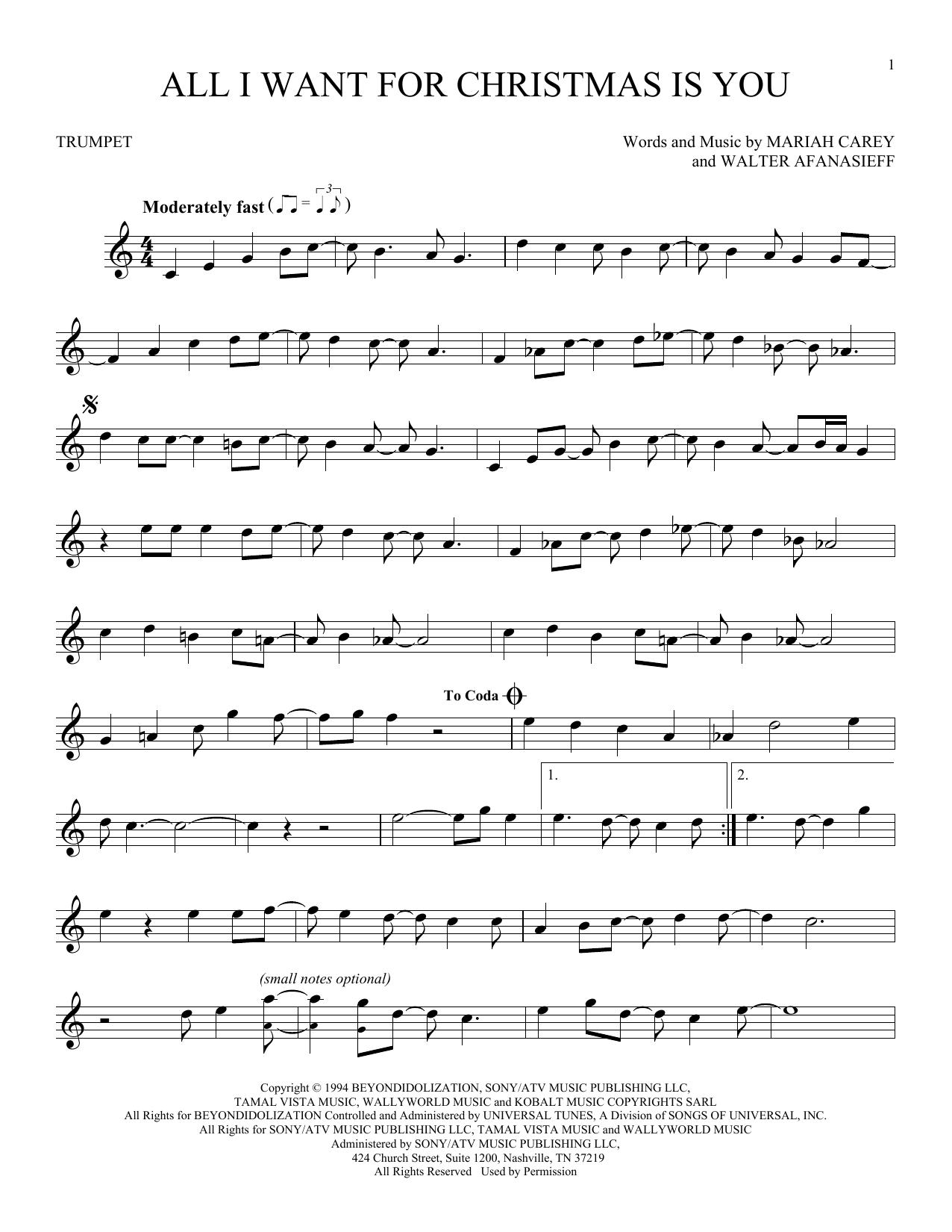 Partition autre All I Want For Christmas Is You de Mariah Carey - Trompette