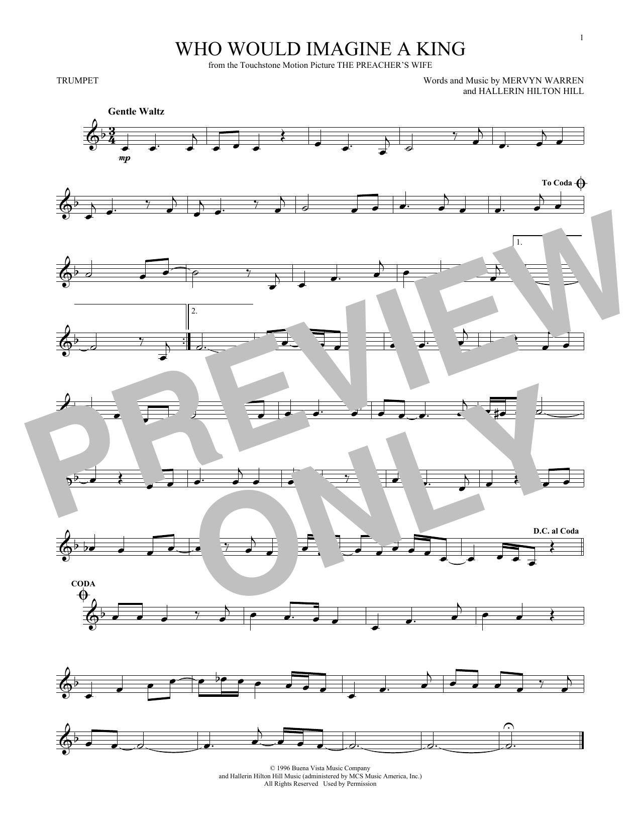 Partition autre Who Would Imagine A King de Whitney Houston - Trompette