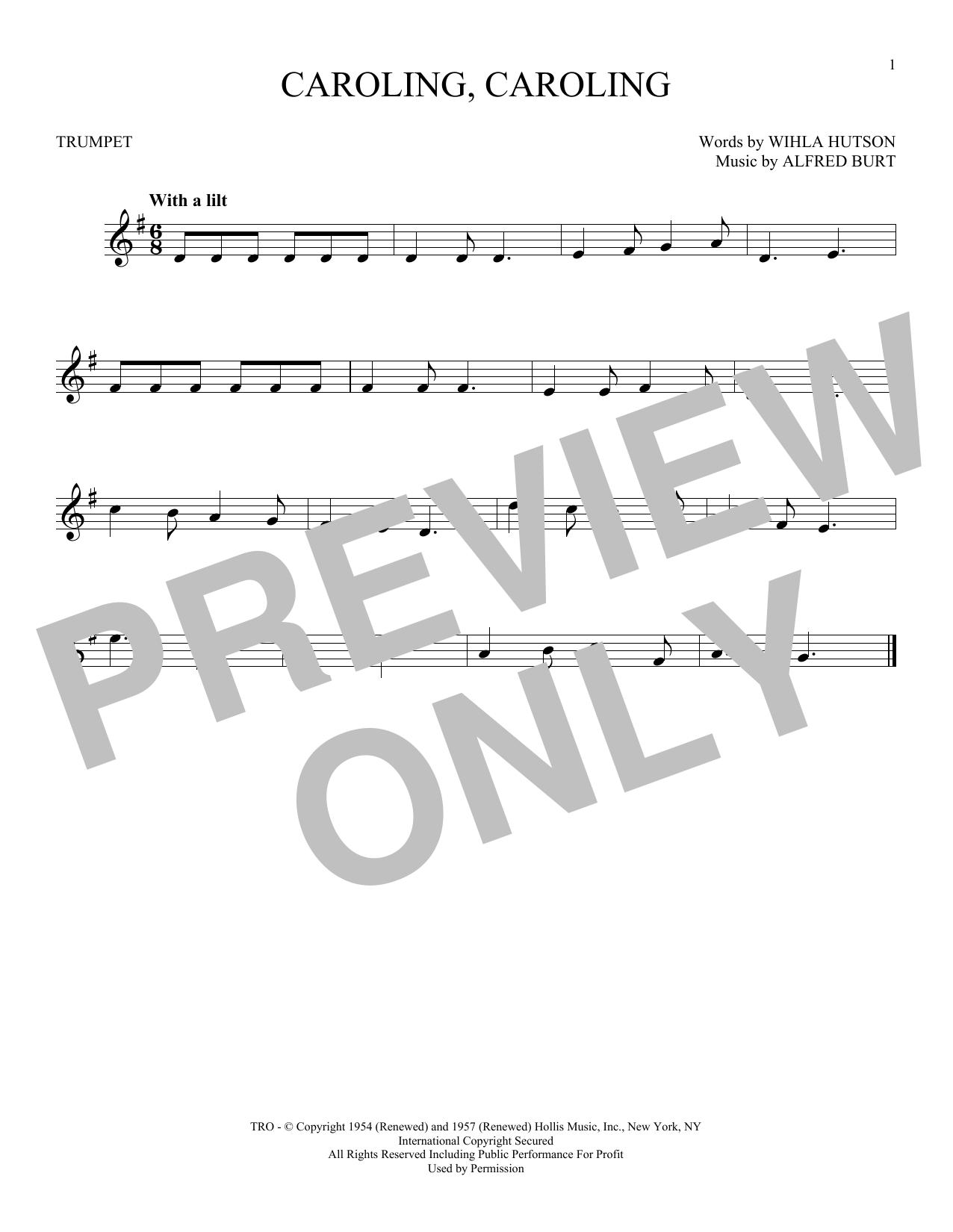 Partition autre Caroling, Caroling de Alfred Burt - Trompette