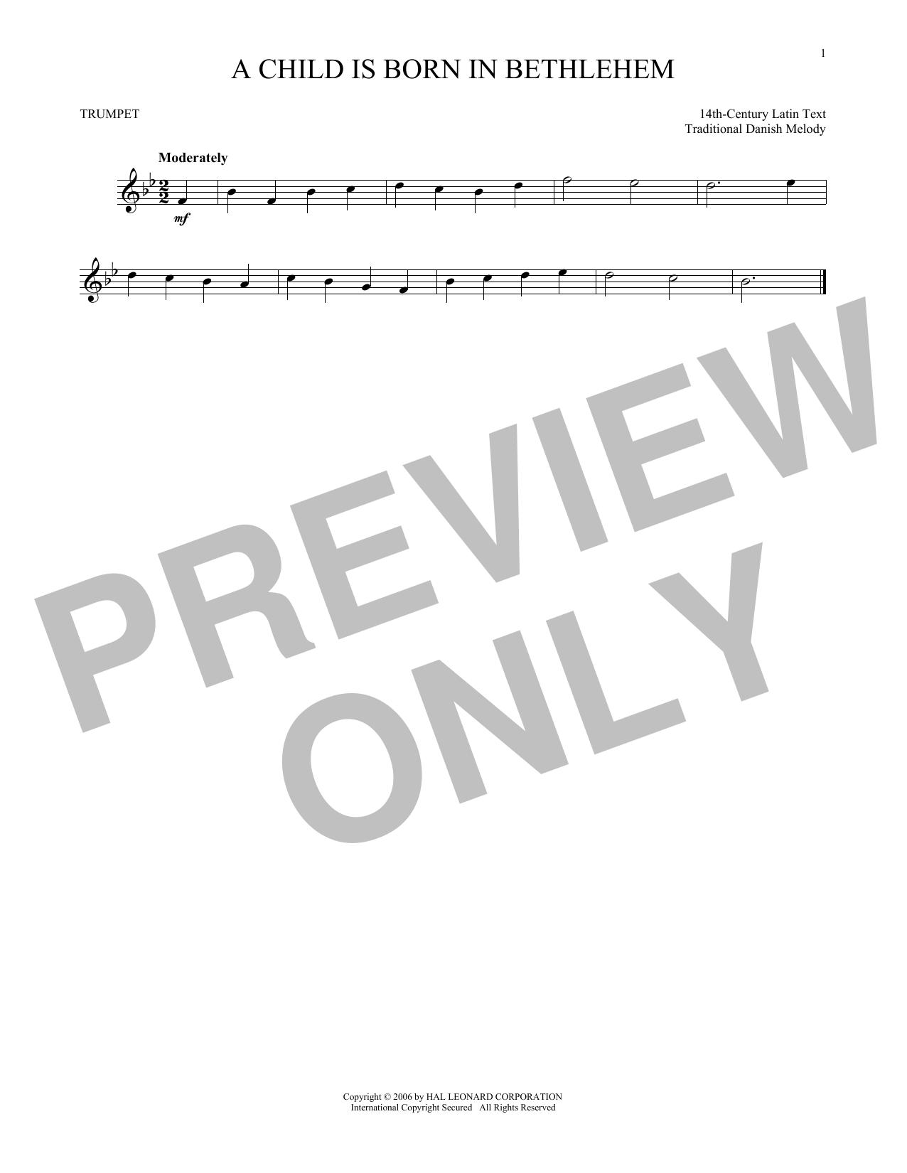 Partition autre A Child Is Born In Bethlehem de Traditional Danish Melody - Trompette