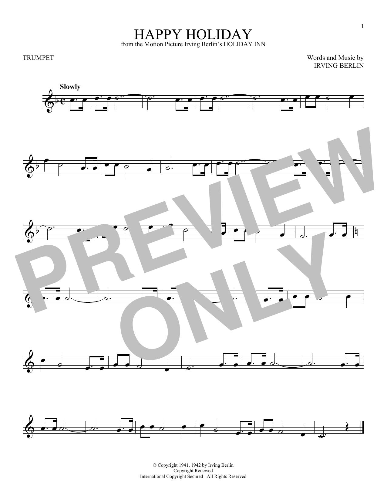Partition autre Happy Holiday de Irving Berlin - Trompette