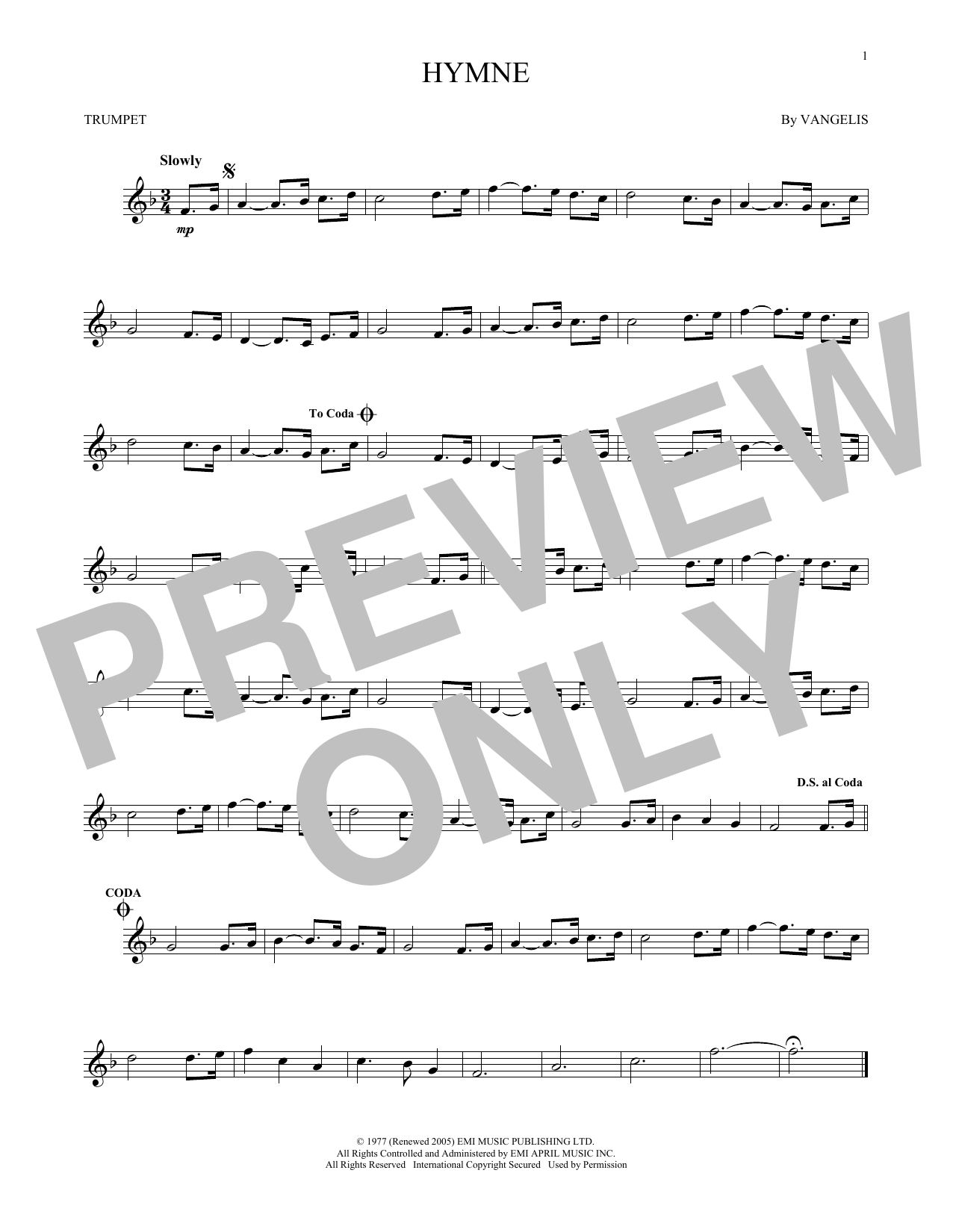 Partition autre Hymne de Vangelis - Trompette