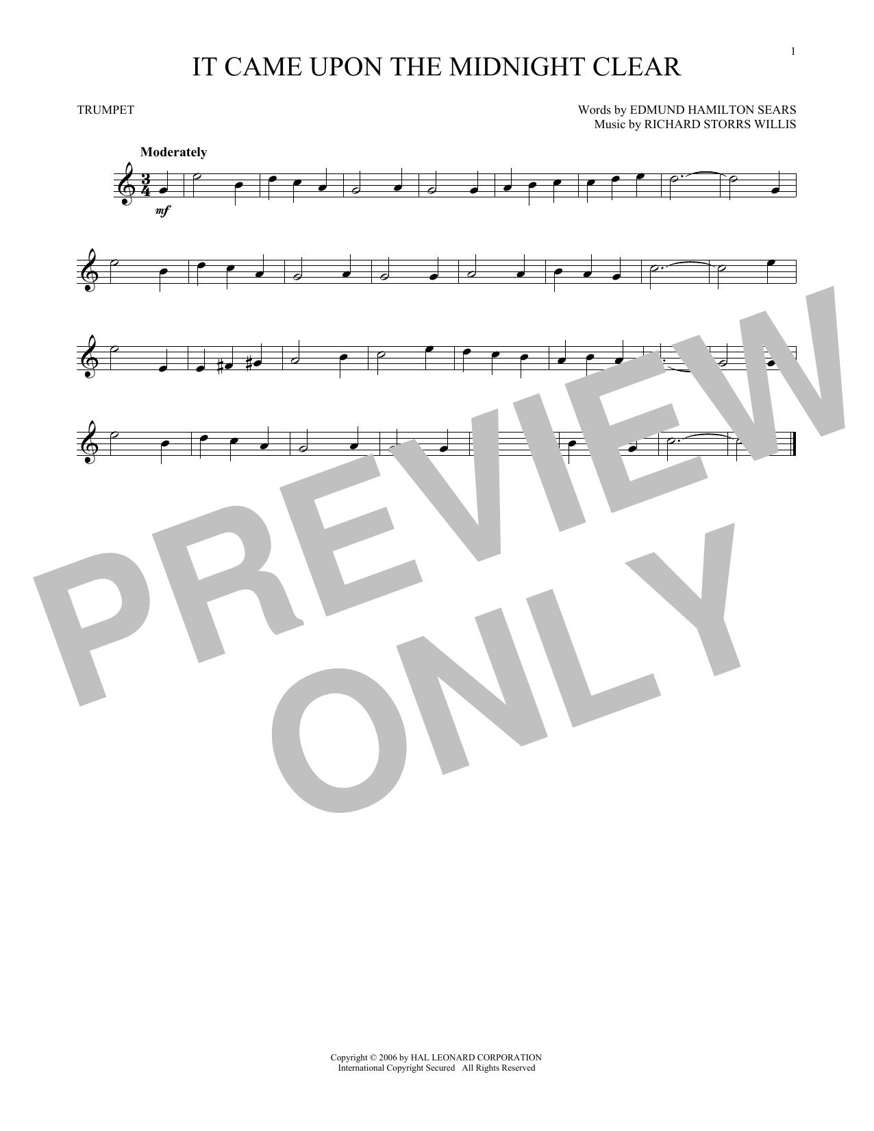Partition autre It Came Upon The Midnight Clear de Edmund Hamilton Sears - Trompette