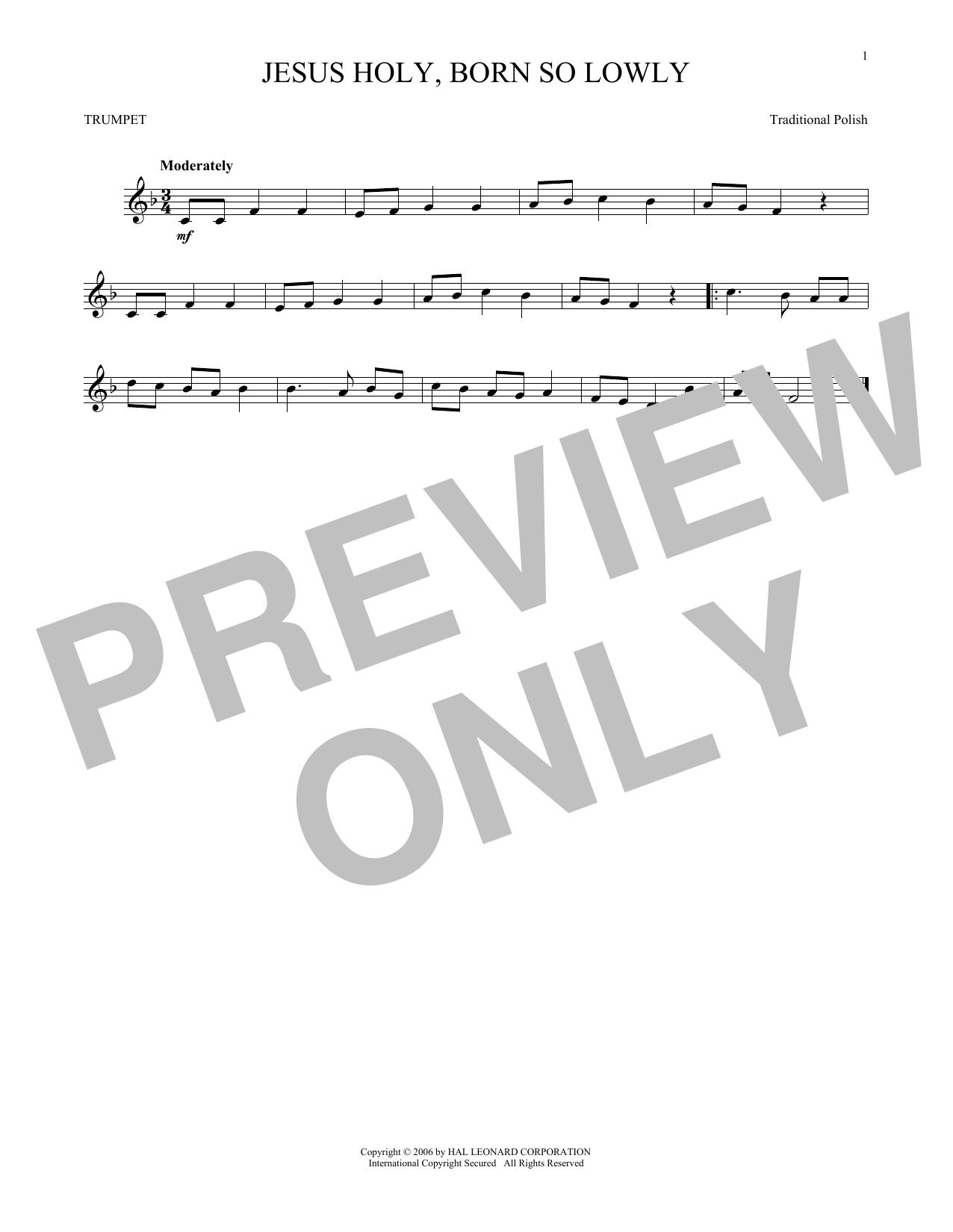 Partition autre Jesus Holy, Born So Lowly de Traditional Carol - Trompette