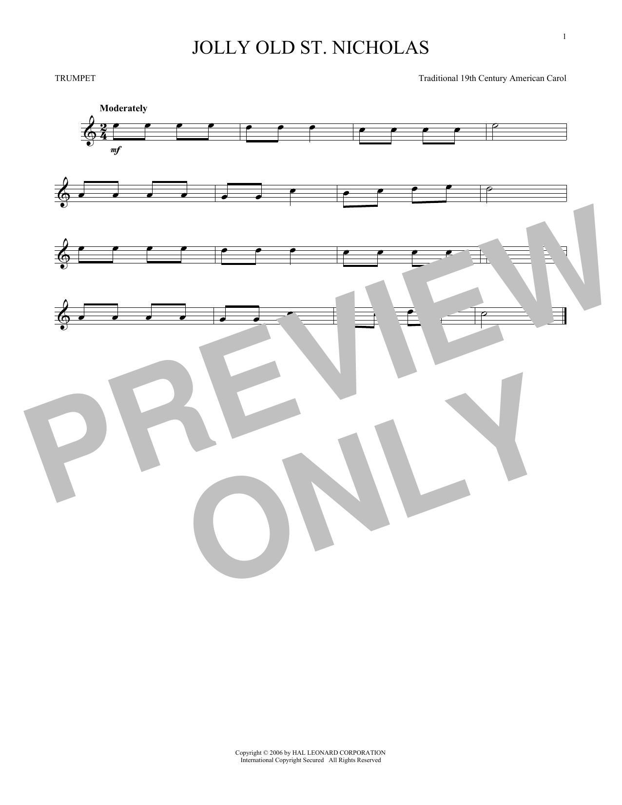 Partition autre Jolly Old St. Nicholas de 19th Century American Carol - Trompette