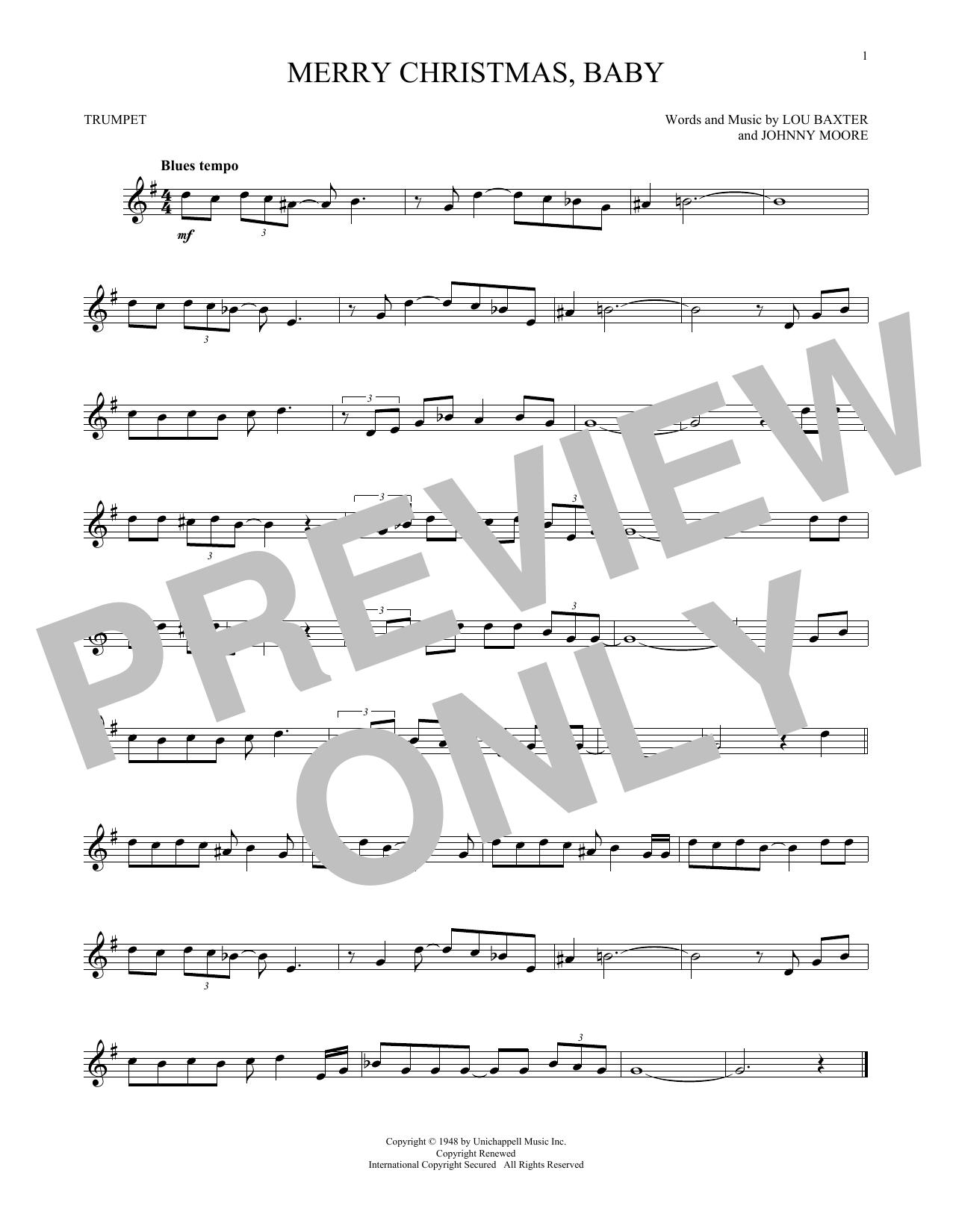 Partition autre Merry Christmas, Baby de Elvis Presley - Trompette