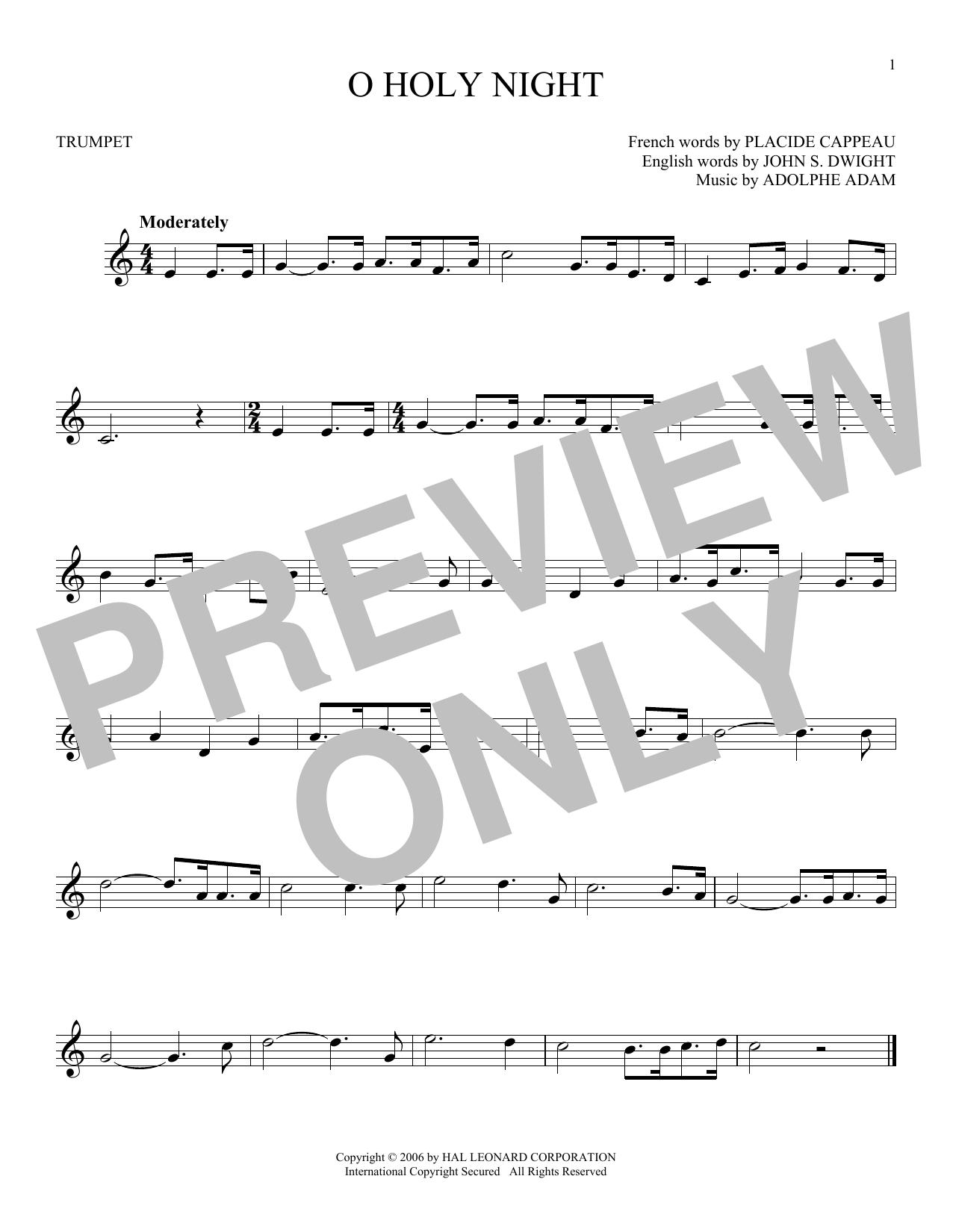 Partition autre O Holy Night de Adolphe Adam - Trompette