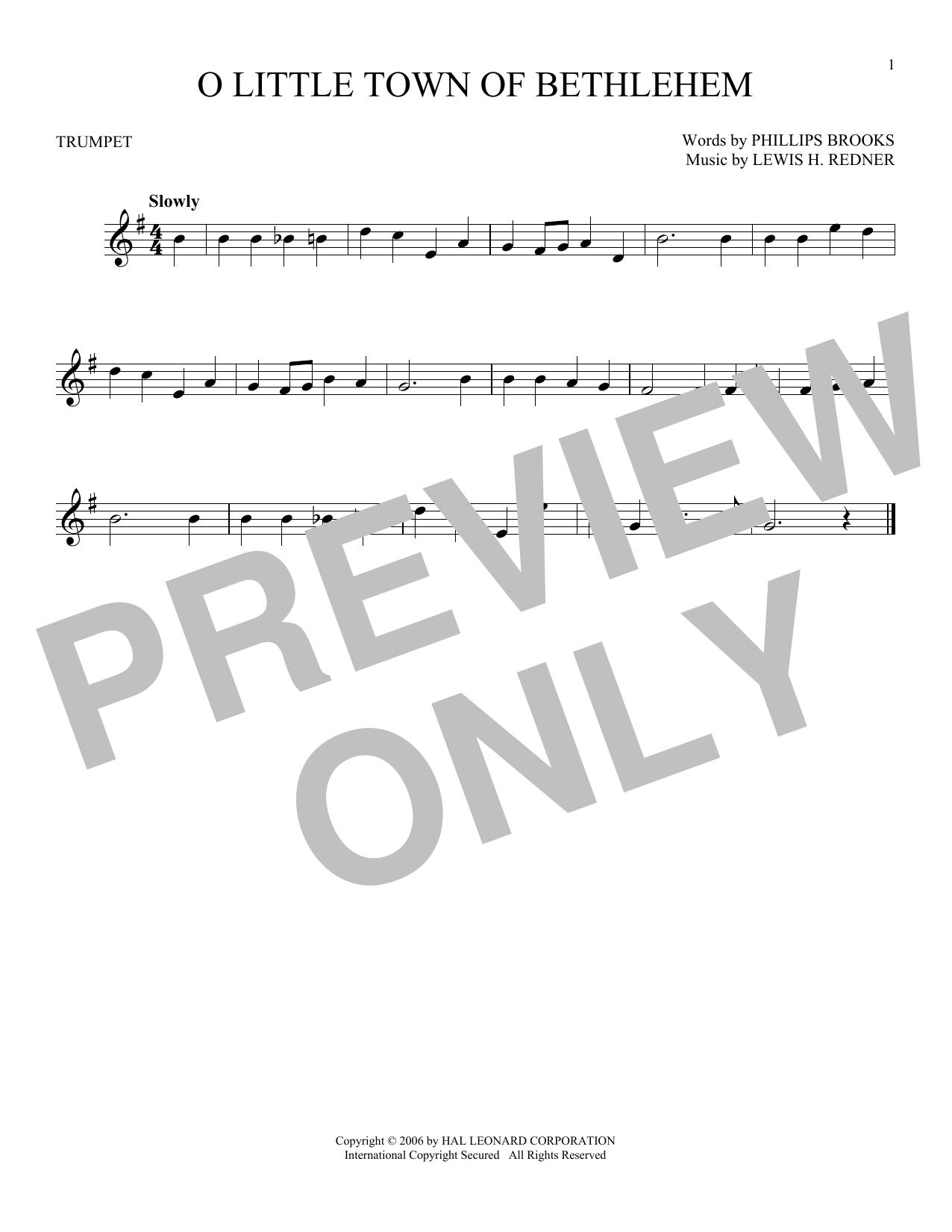Partition autre O Little Town Of Bethlehem de Phillips Brooks - Trompette