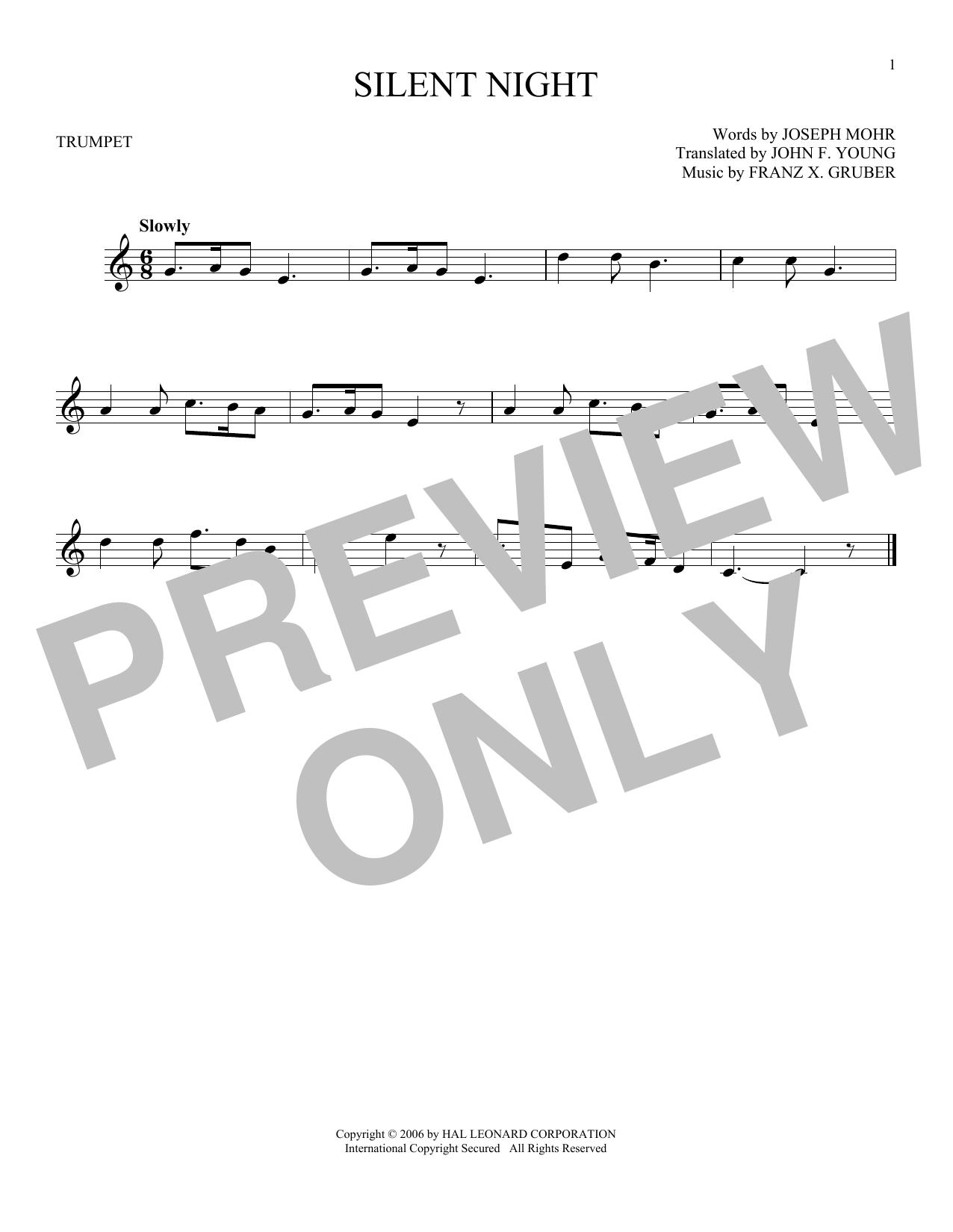 Partition autre Silent Night de Franz X. Gruber - Trompette