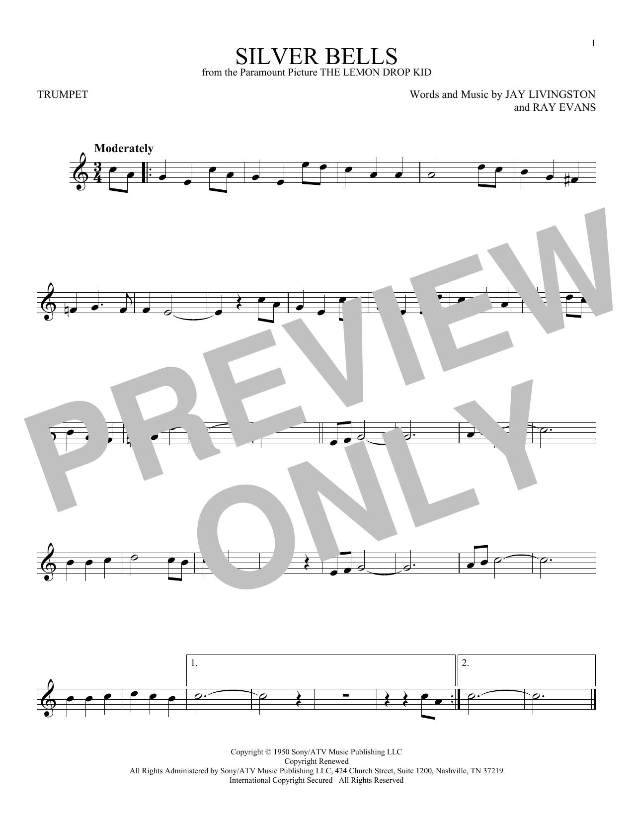 Partition autre Silver Bells de Jay Livingston - Trompette