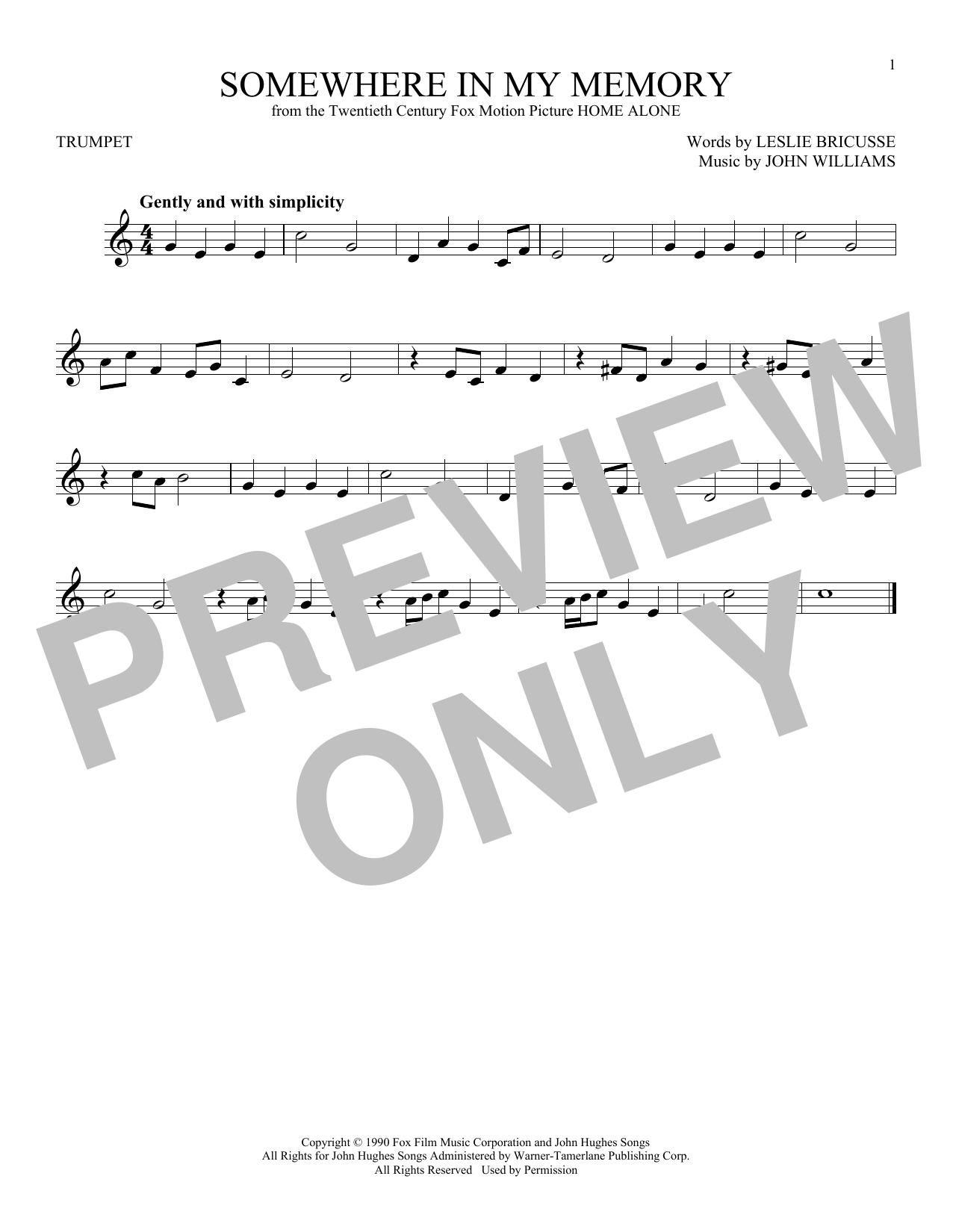 Partition autre Somewhere In My Memory de John Williams - Trompette