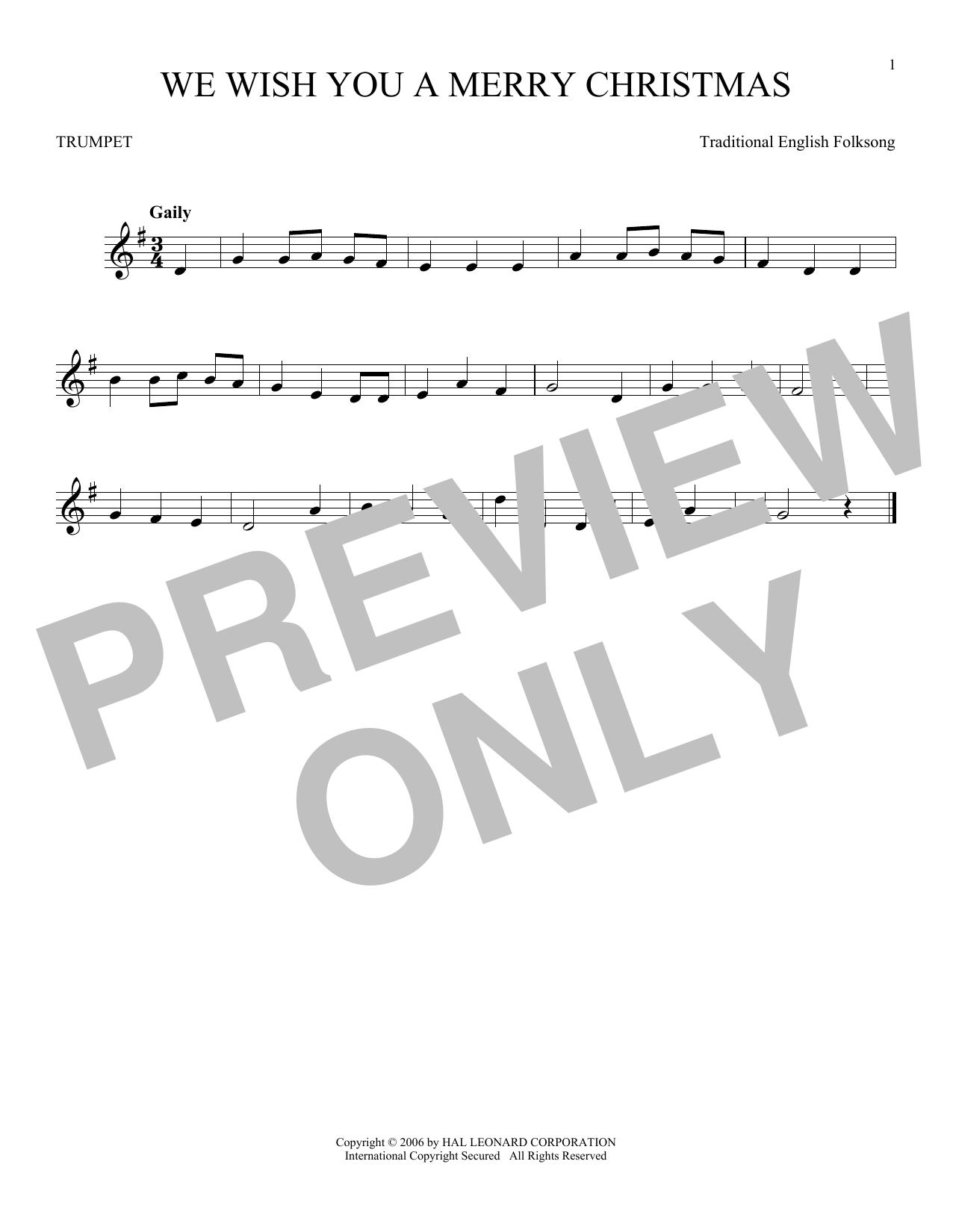 Partition autre We Wish You A Merry Christmas de Christmas Carol - Trompette