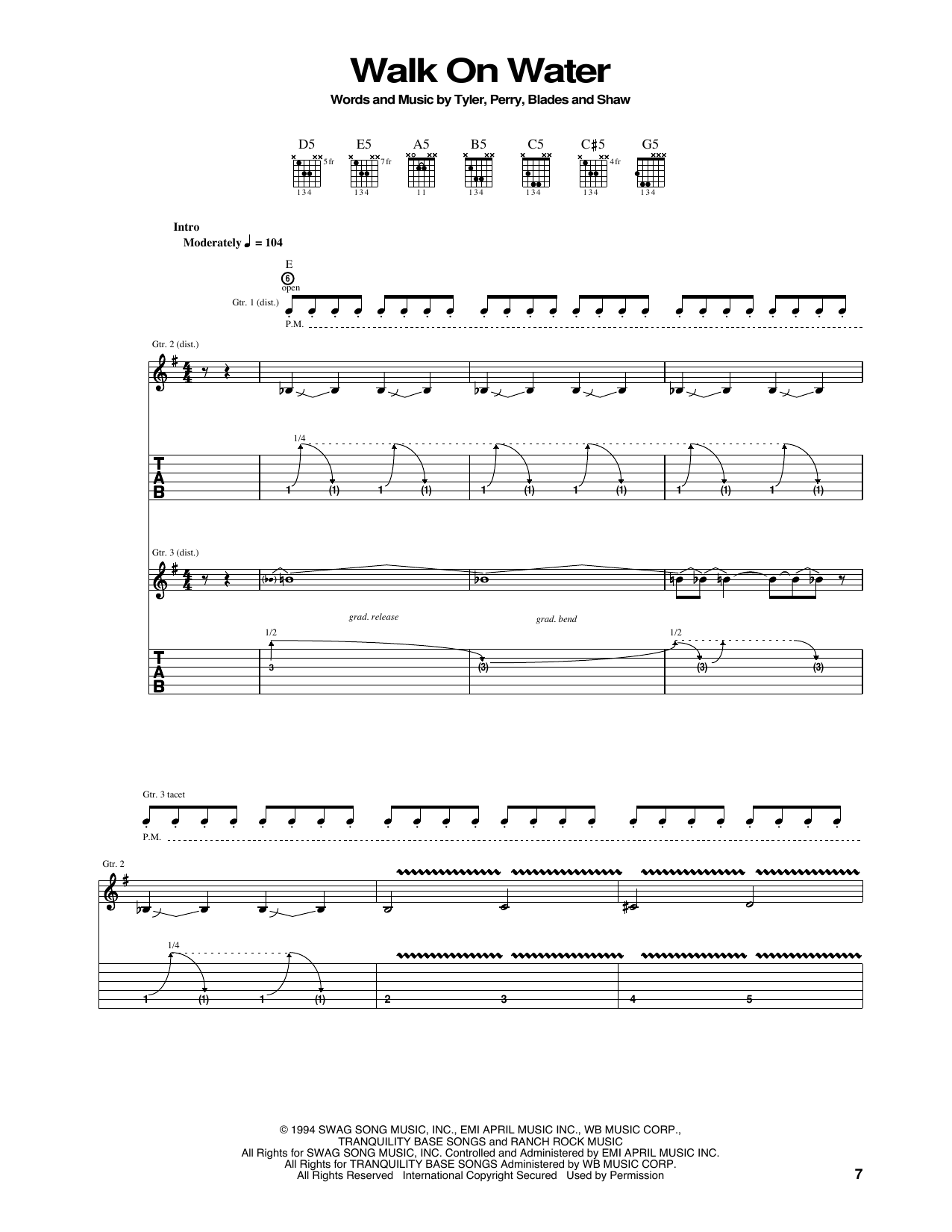 Tablature guitare Walk On Water de Aerosmith - Tablature Guitare