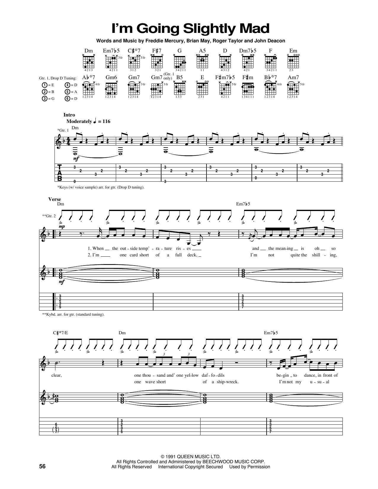 Tablature guitare I'm Going Slightly Mad de Queen - Tablature Guitare