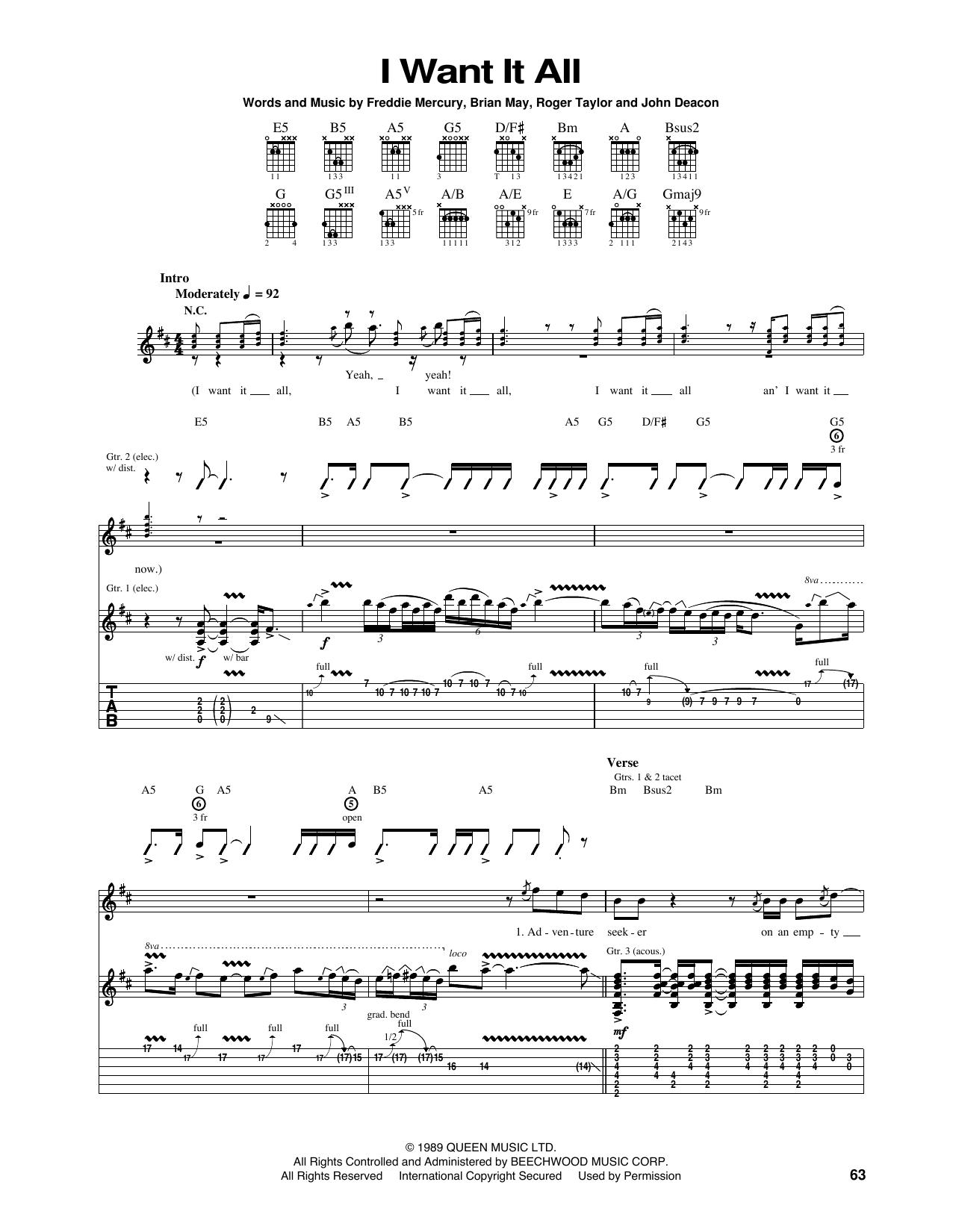 Tablature guitare I Want It All de Queen - Tablature Guitare
