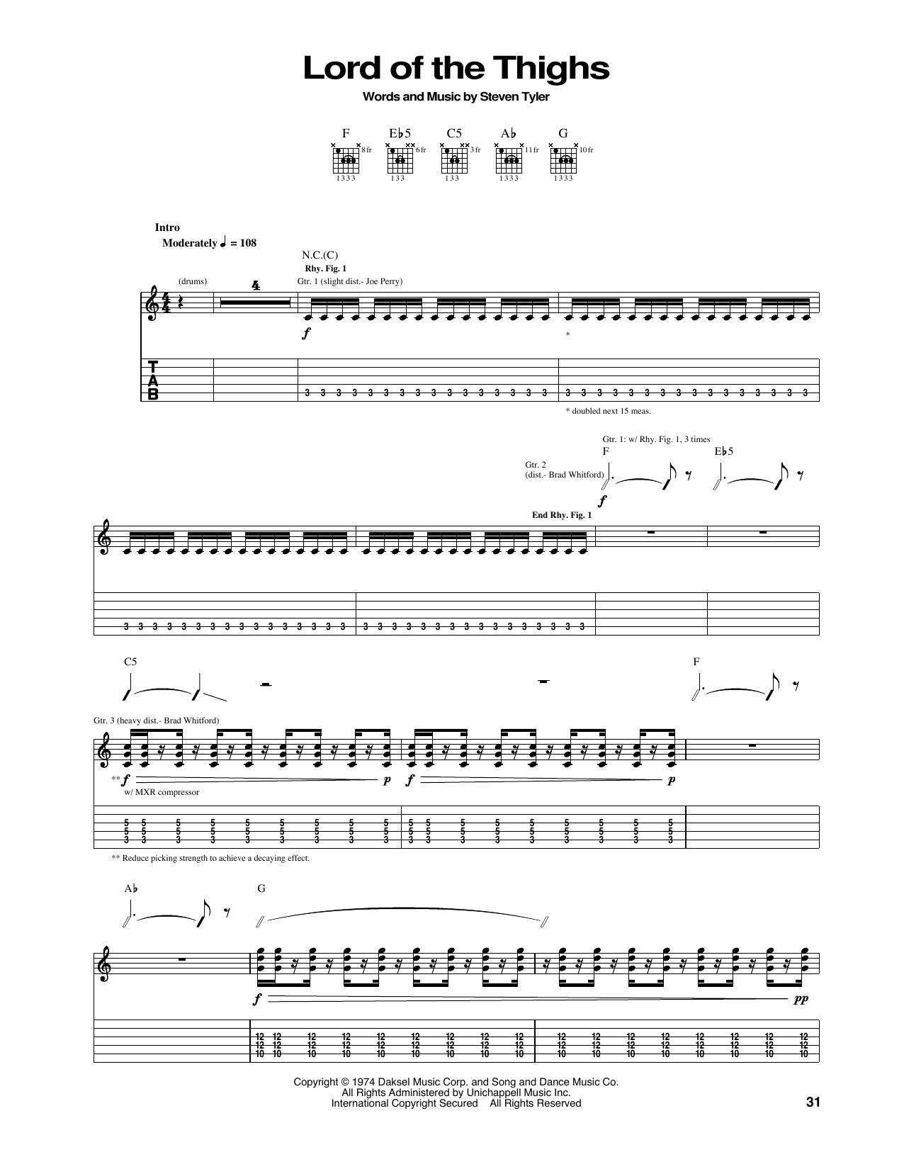 Tablature guitare Lord Of The Thighs de Aerosmith - Tablature Guitare