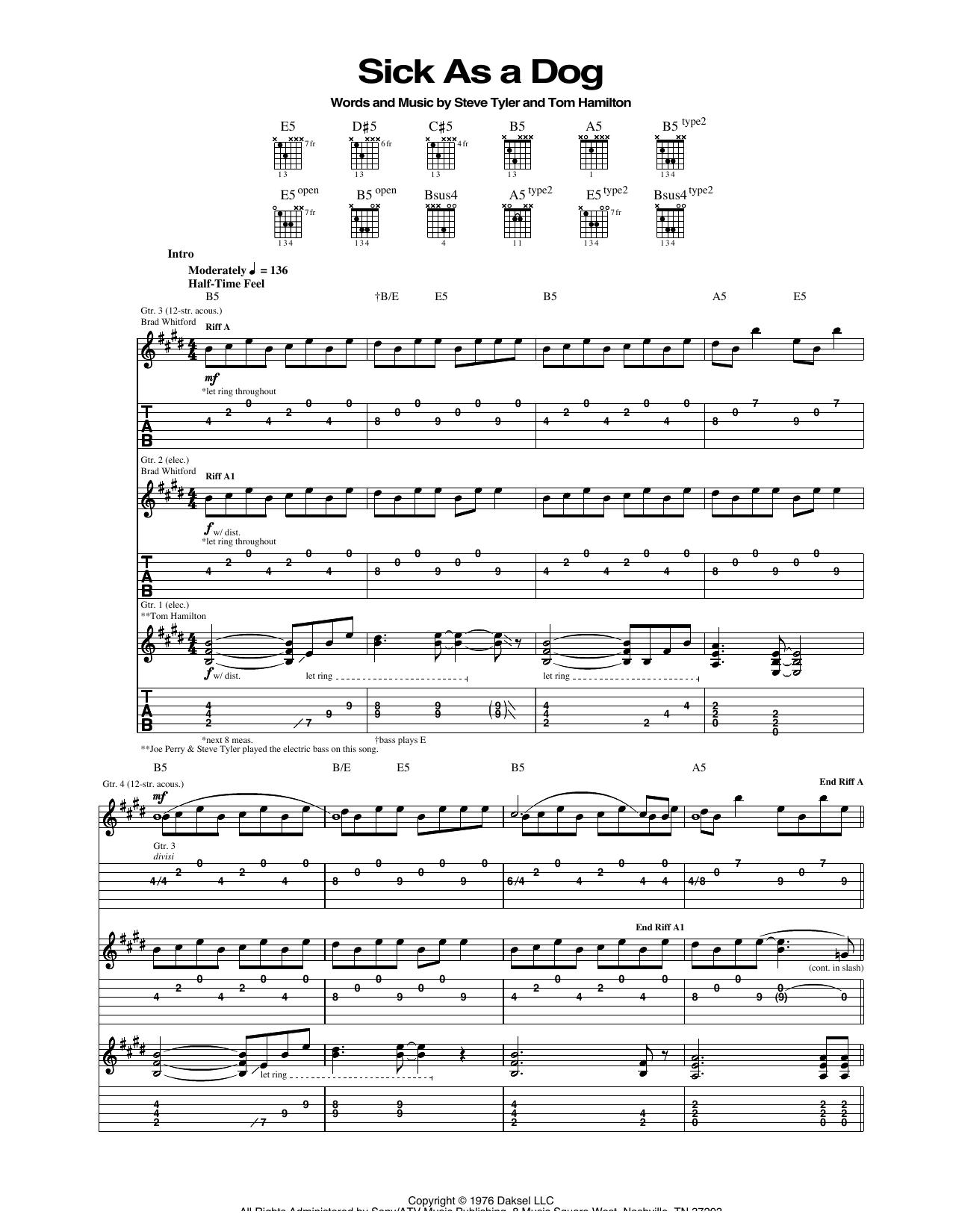 Tablature guitare Sick As A Dog de Aerosmith - Tablature Guitare