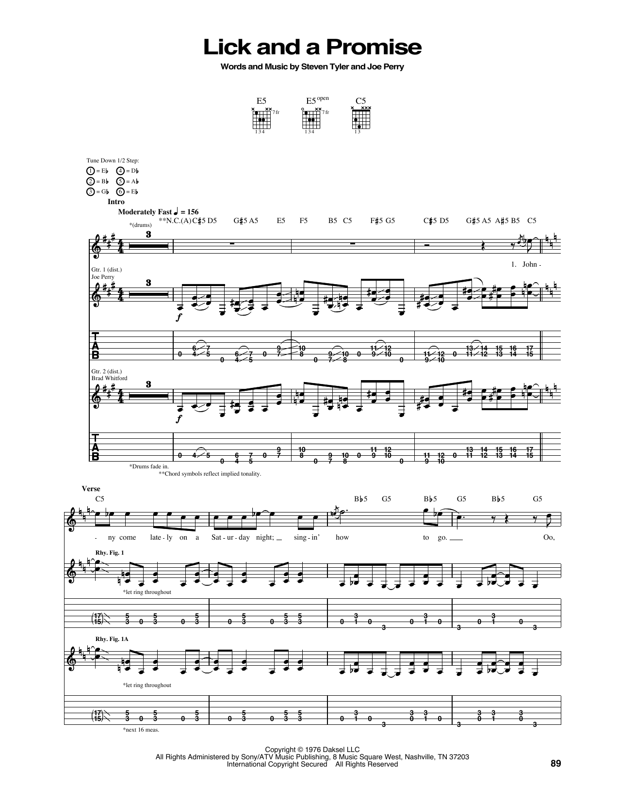 Tablature guitare Lick And A Promise de Aerosmith - Tablature Guitare