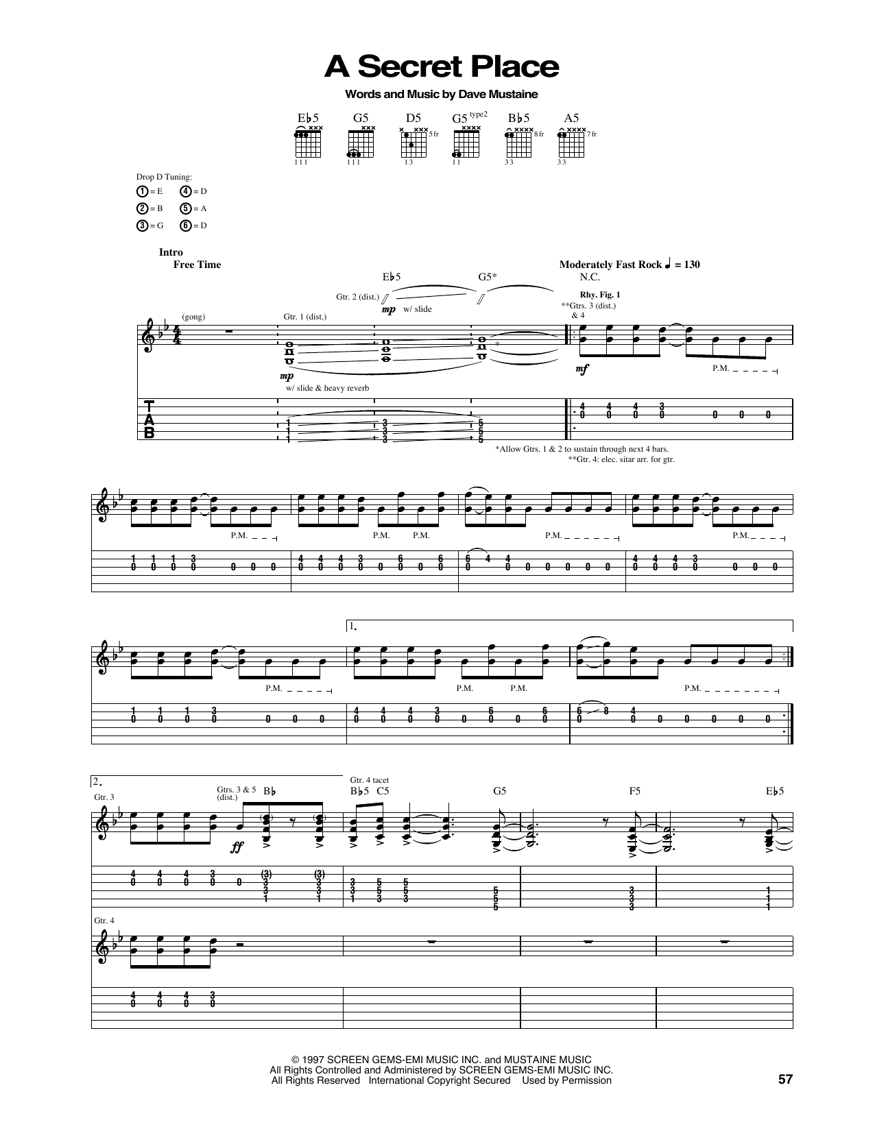 Tablature guitare A Secret Place de Megadeth - Tablature Guitare