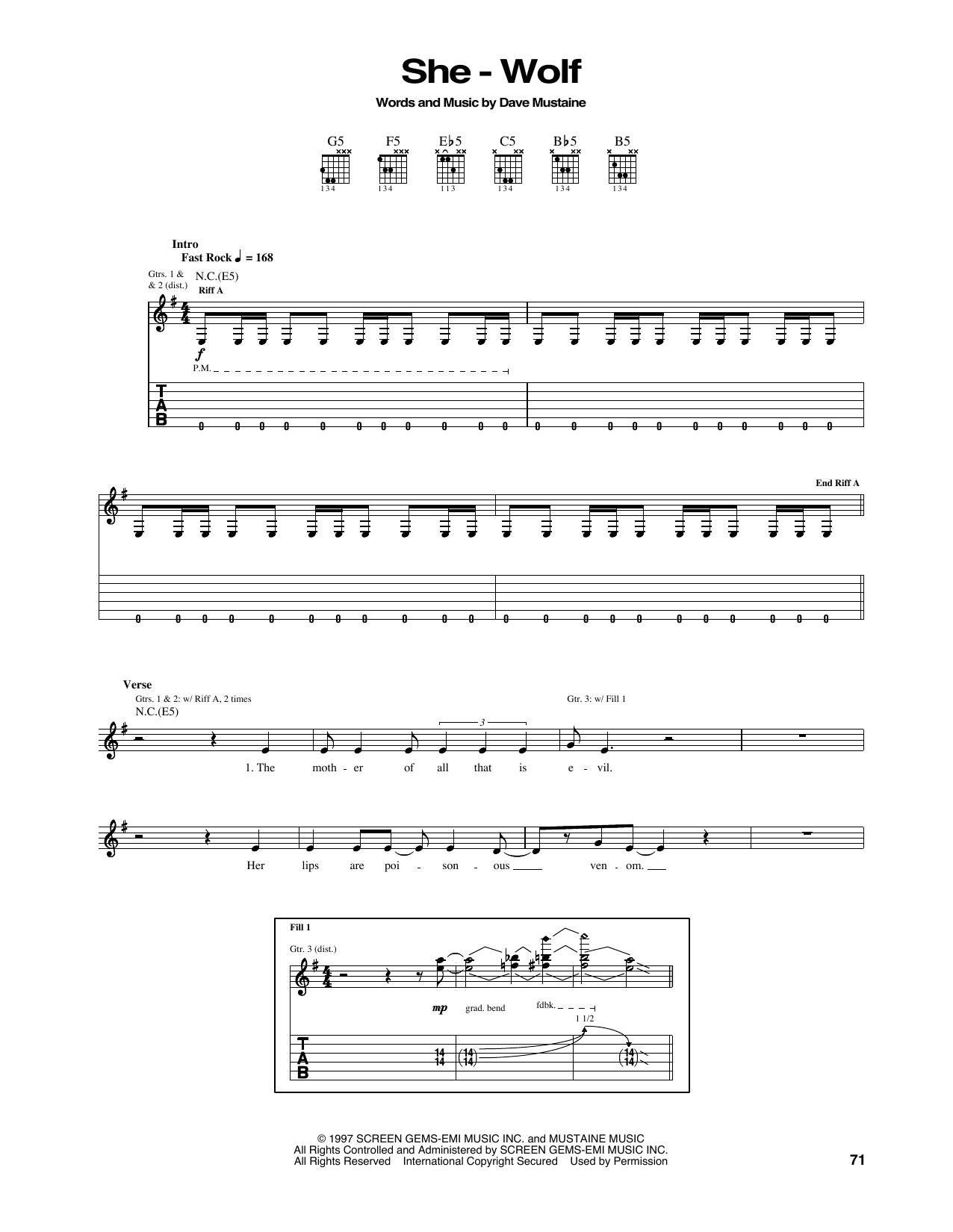 Tablature guitare She-Wolf de Megadeth - Tablature Guitare