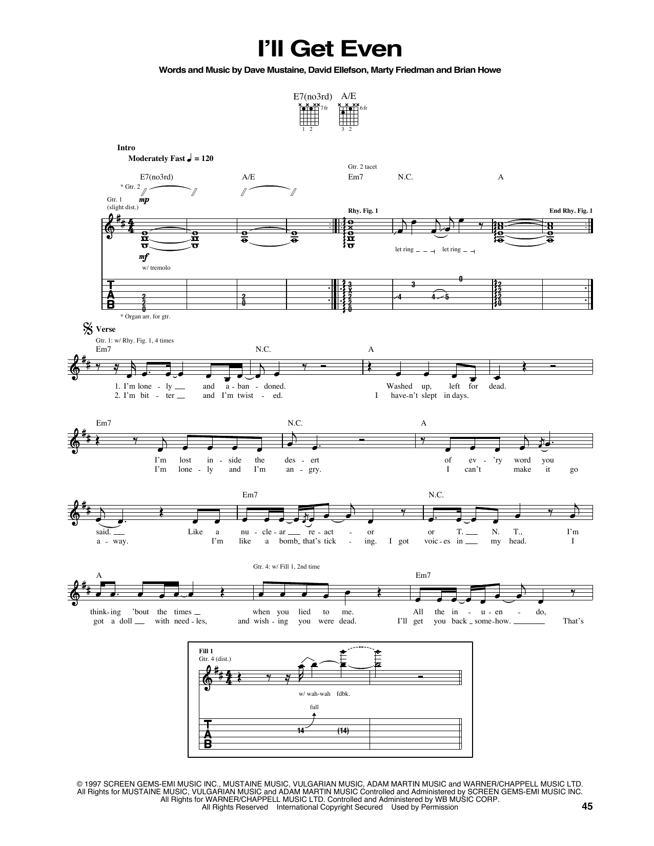 Tablature guitare I'll Get Even de Megadeth - Tablature Guitare