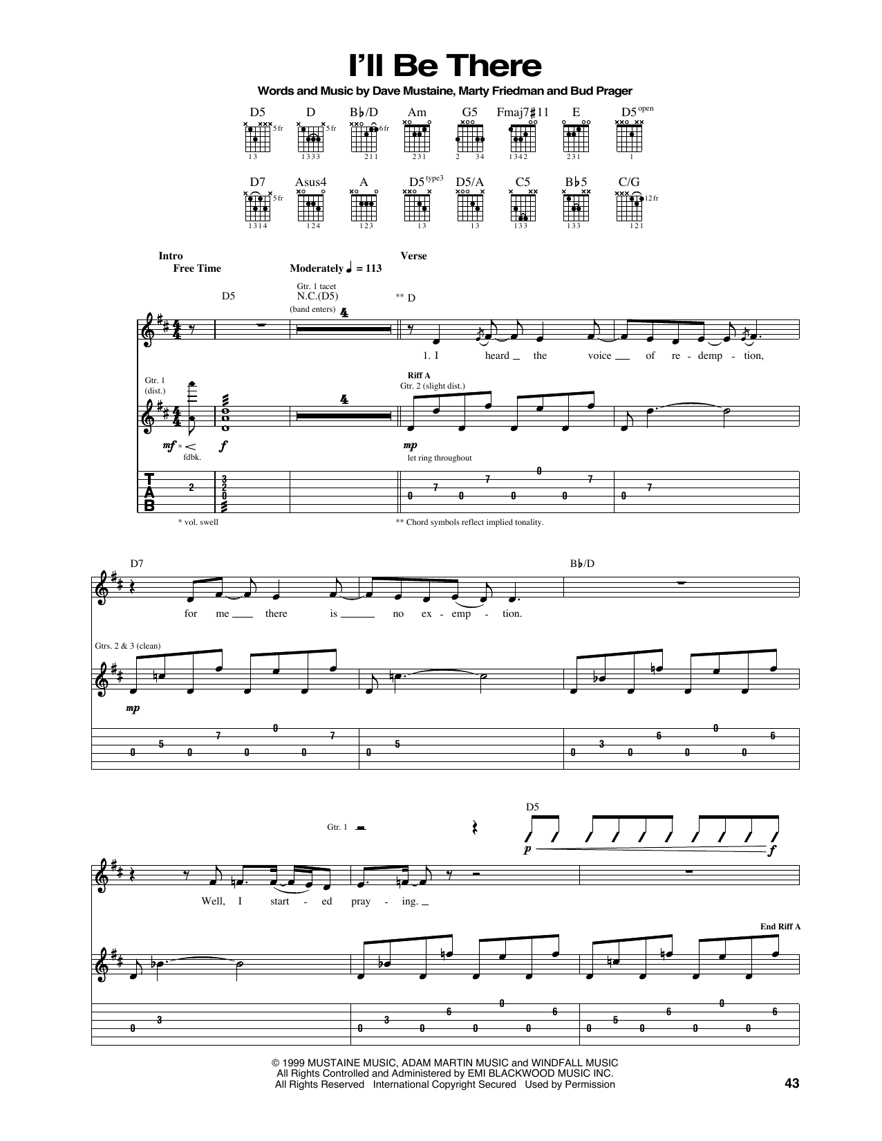 Tablature guitare I'll Be There de Megadeth - Tablature Guitare