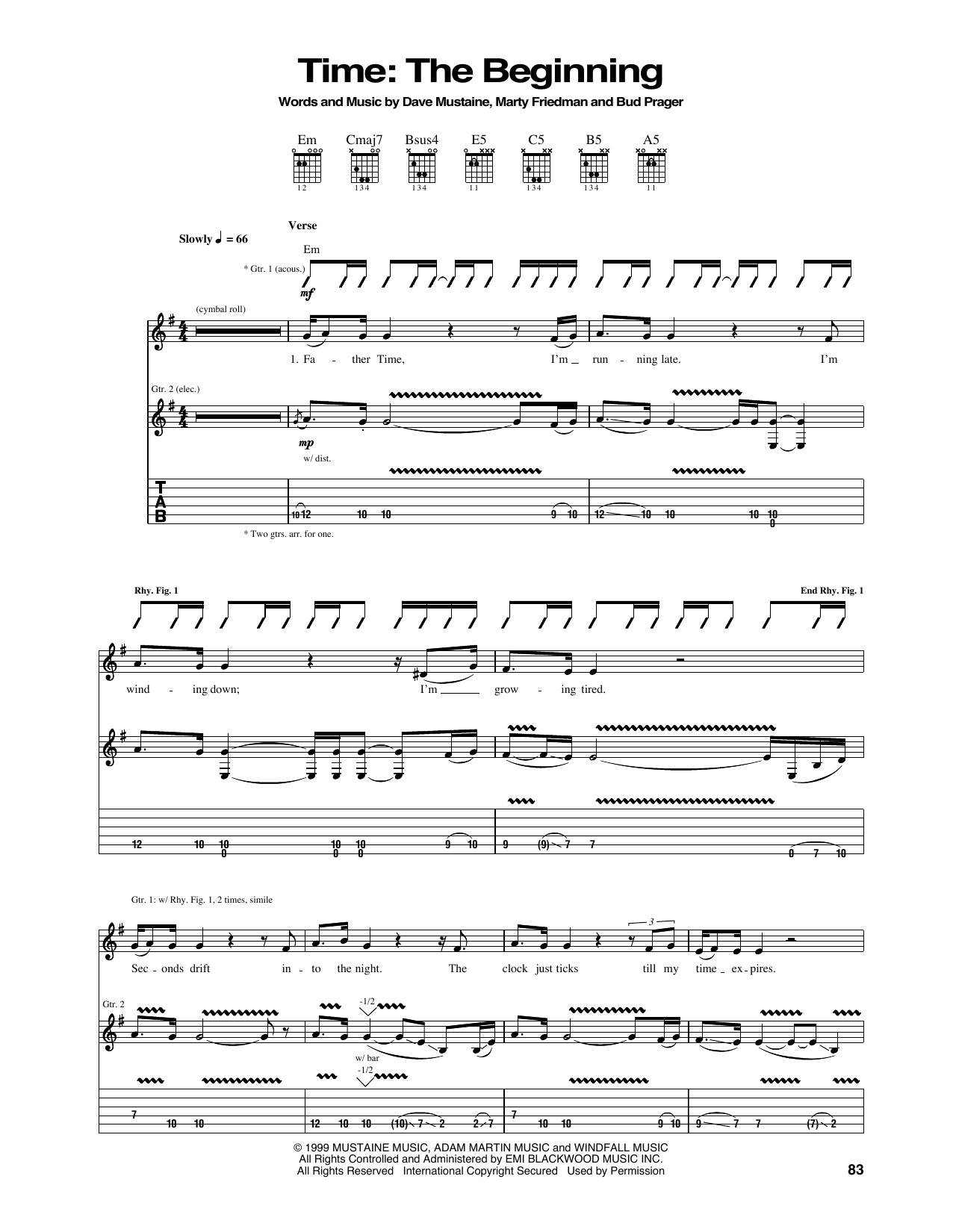 Tablature guitare Time de Megadeth - Tablature Guitare