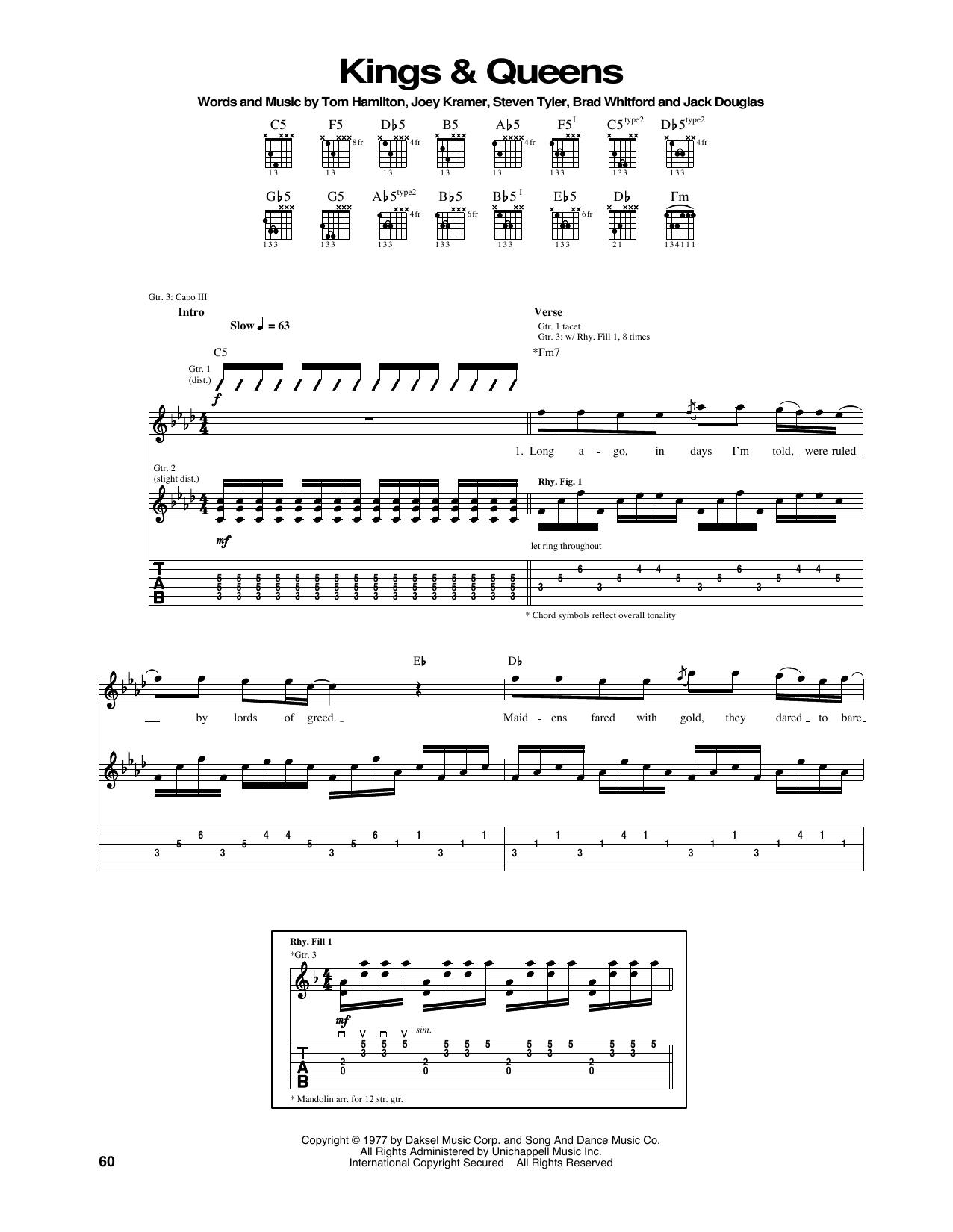 Tablature guitare Kings & Queens de Aerosmith - Tablature Guitare